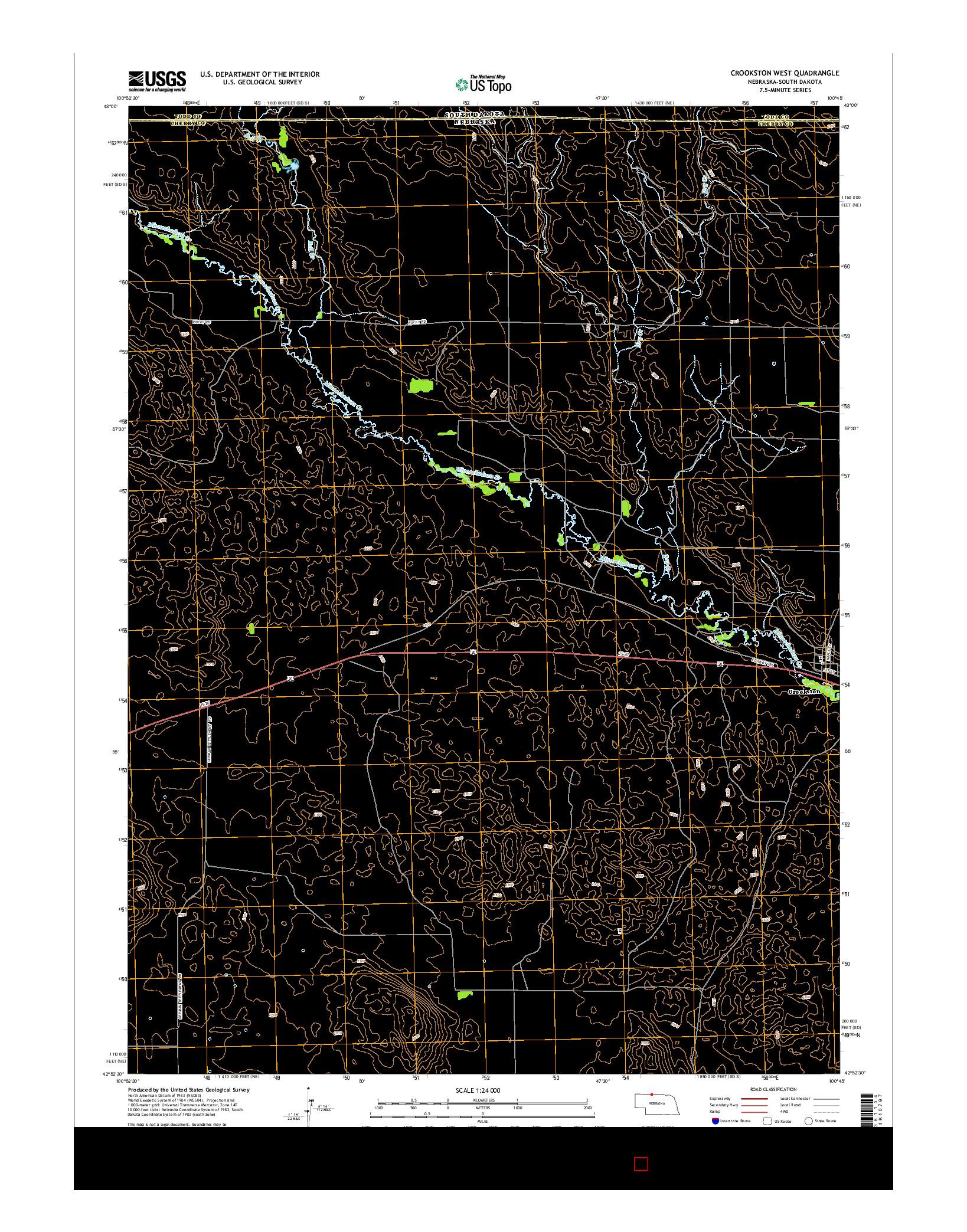 USGS US TOPO 7.5-MINUTE MAP FOR CROOKSTON WEST, NE-SD 2014
