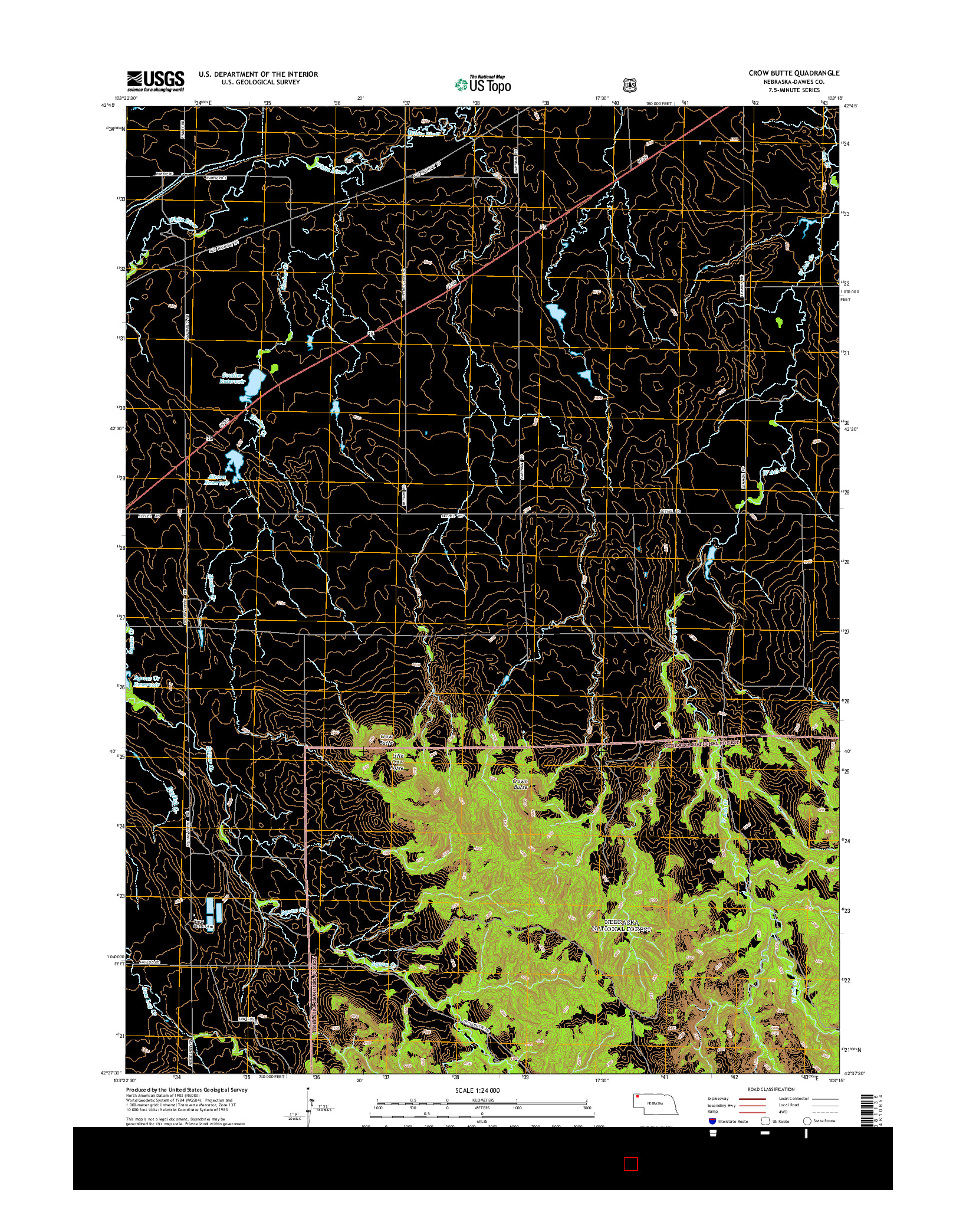 USGS US TOPO 7.5-MINUTE MAP FOR CROW BUTTE, NE 2014