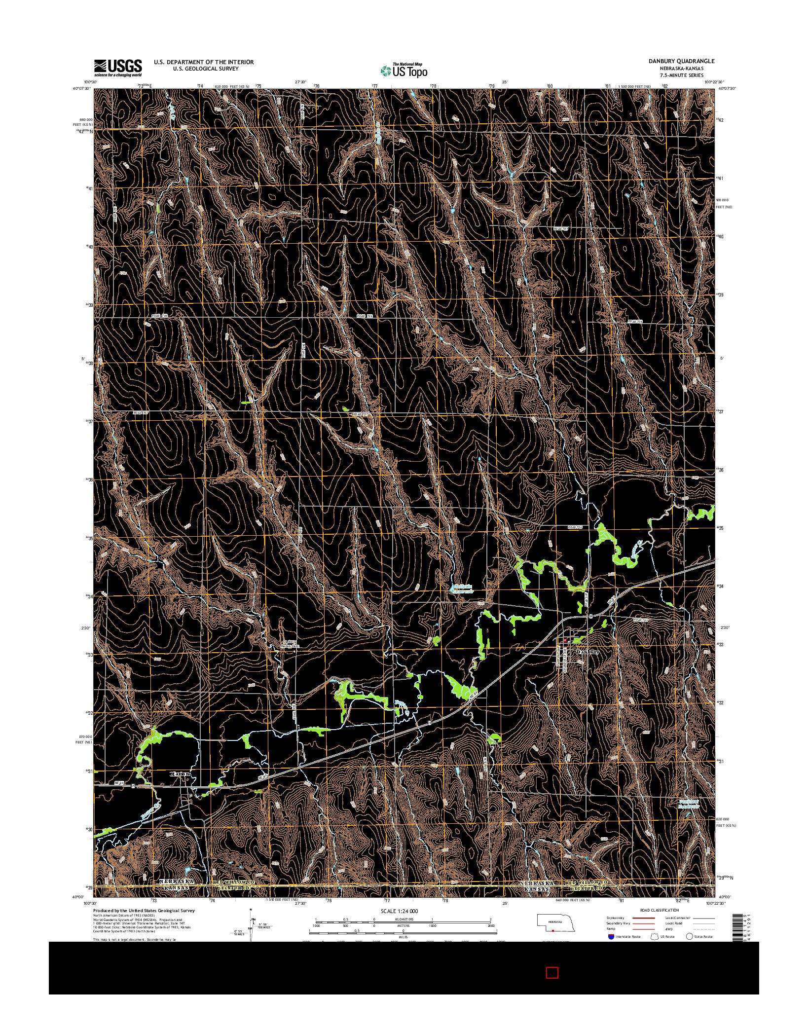 USGS US TOPO 7.5-MINUTE MAP FOR DANBURY, NE-KS 2014