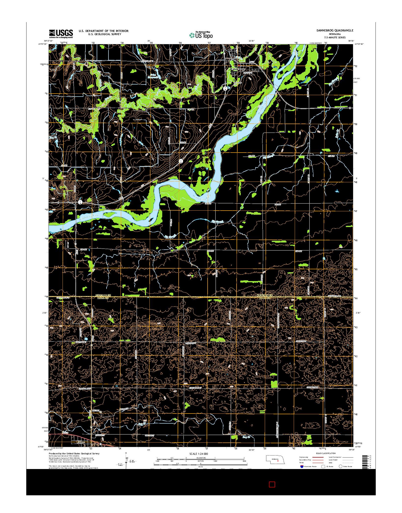 USGS US TOPO 7.5-MINUTE MAP FOR DANNEBROG, NE 2014