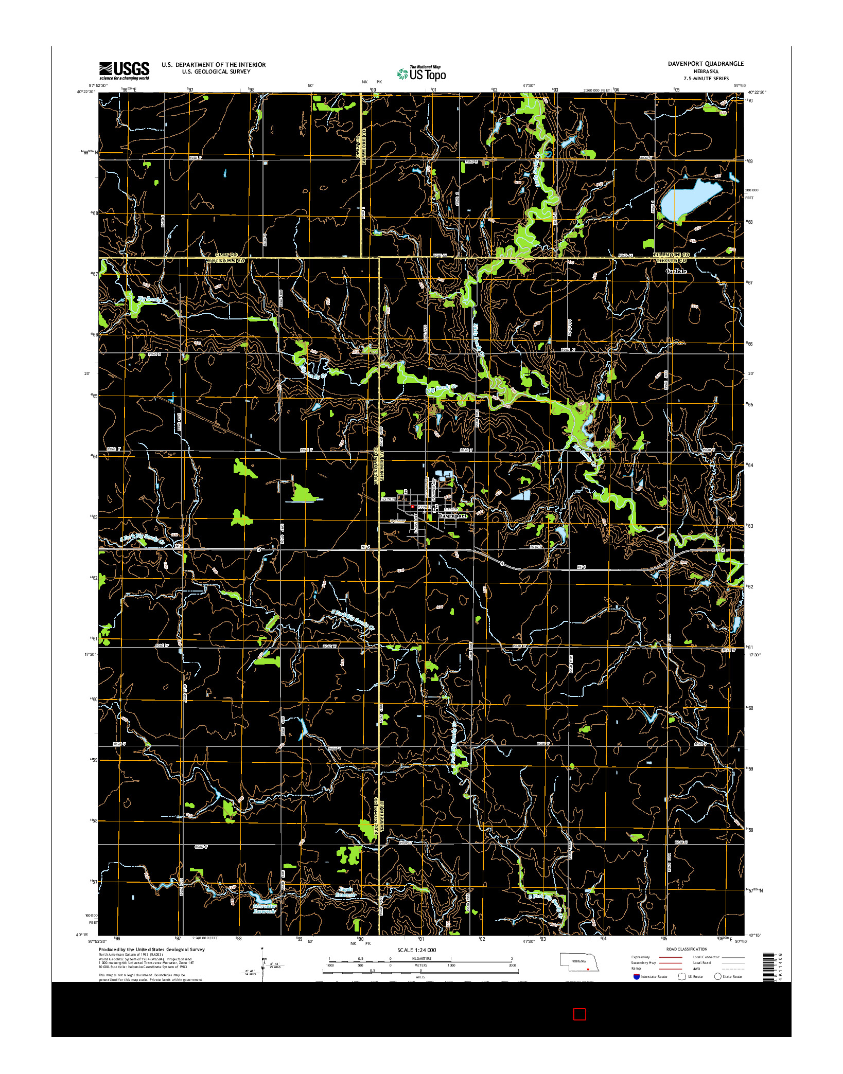 USGS US TOPO 7.5-MINUTE MAP FOR DAVENPORT, NE 2014
