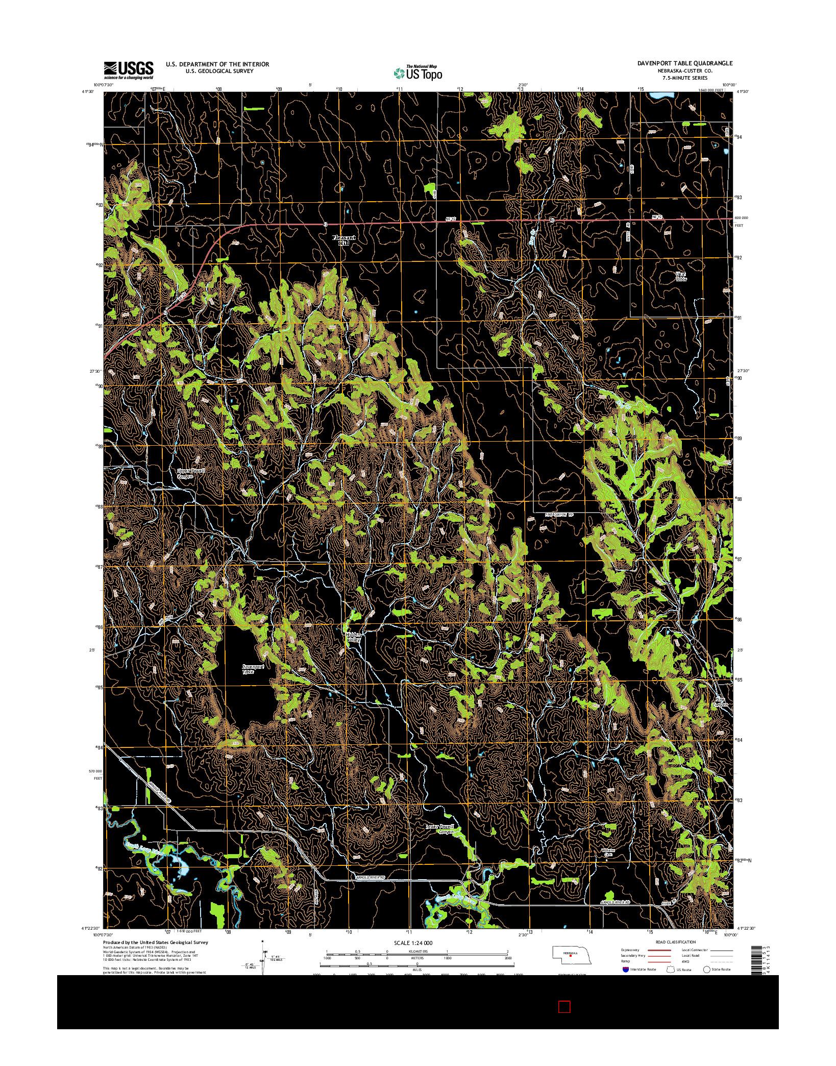 USGS US TOPO 7.5-MINUTE MAP FOR DAVENPORT TABLE, NE 2014