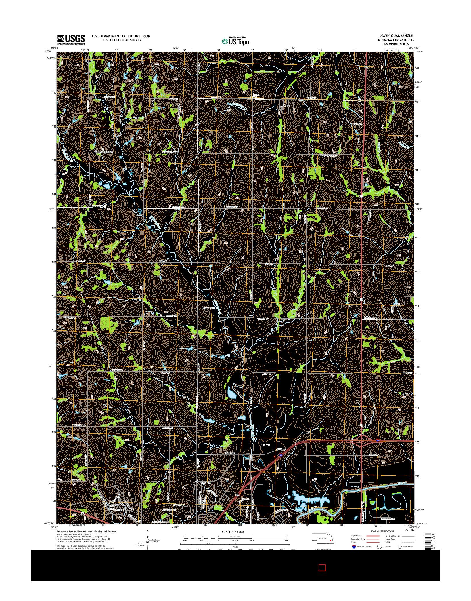 USGS US TOPO 7.5-MINUTE MAP FOR DAVEY, NE 2014