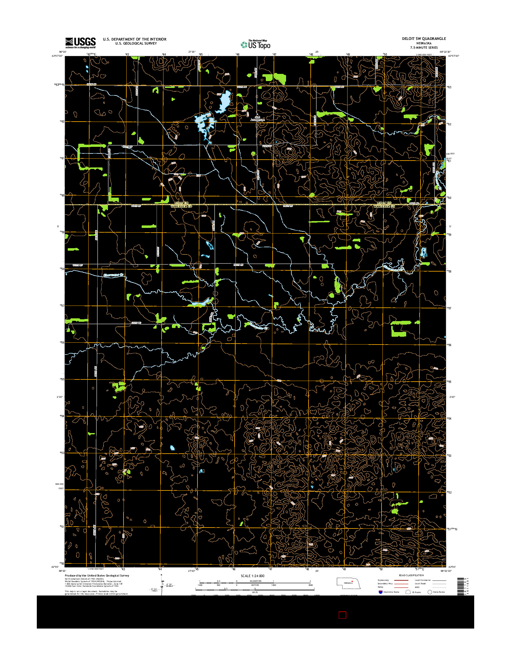 USGS US TOPO 7.5-MINUTE MAP FOR DELOIT SW, NE 2014