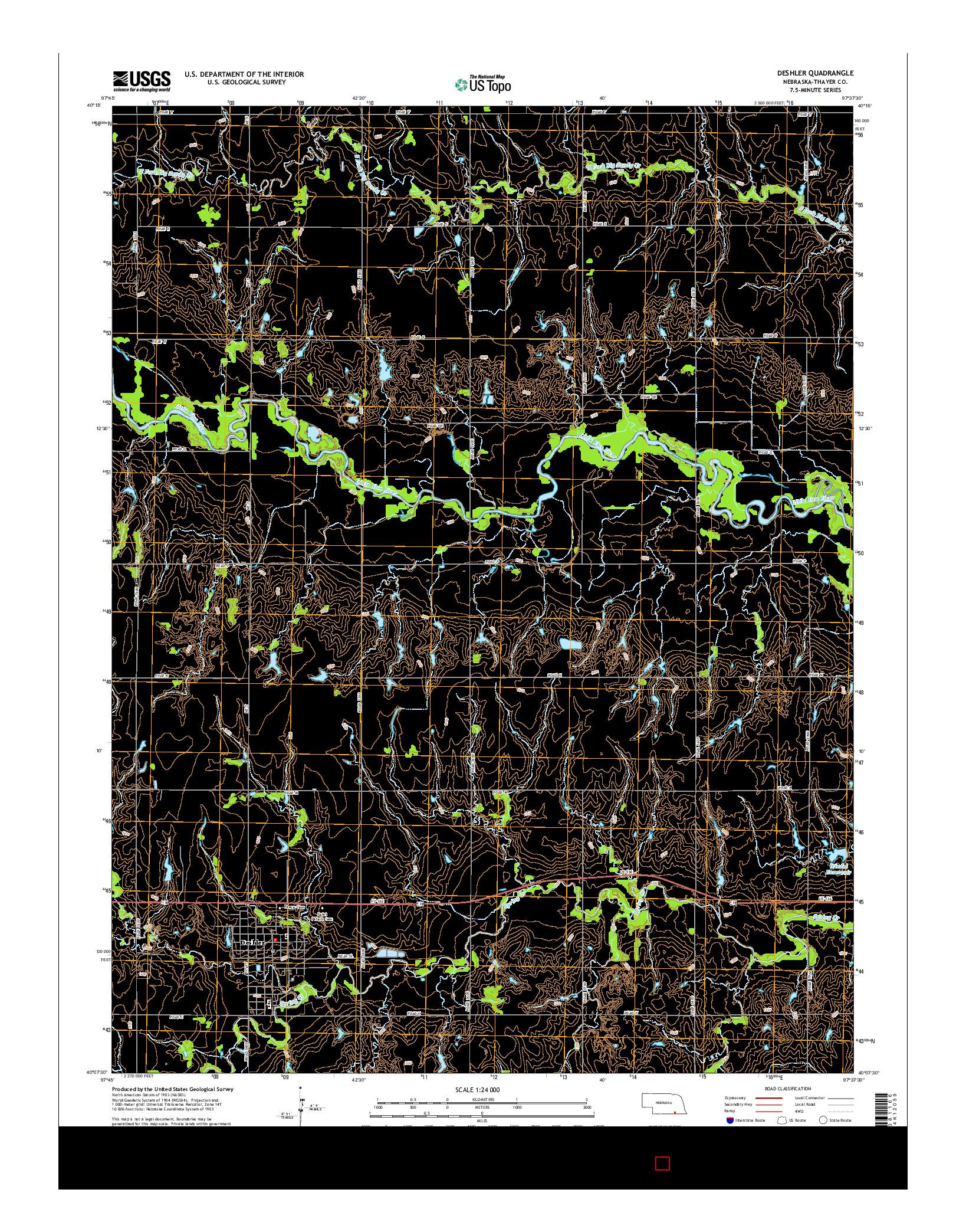USGS US TOPO 7.5-MINUTE MAP FOR DESHLER, NE 2014
