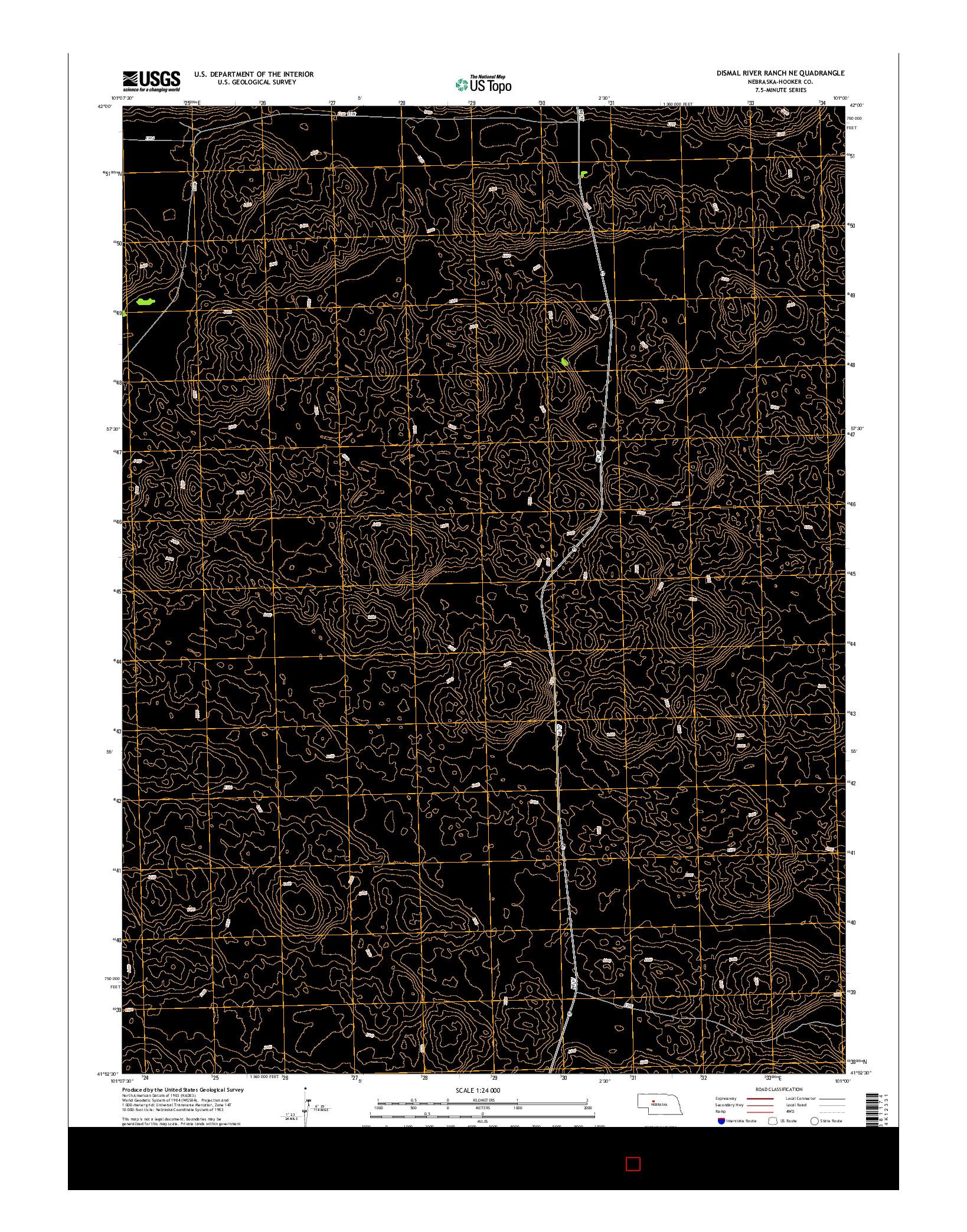 USGS US TOPO 7.5-MINUTE MAP FOR DISMAL RIVER RANCH NE, NE 2014