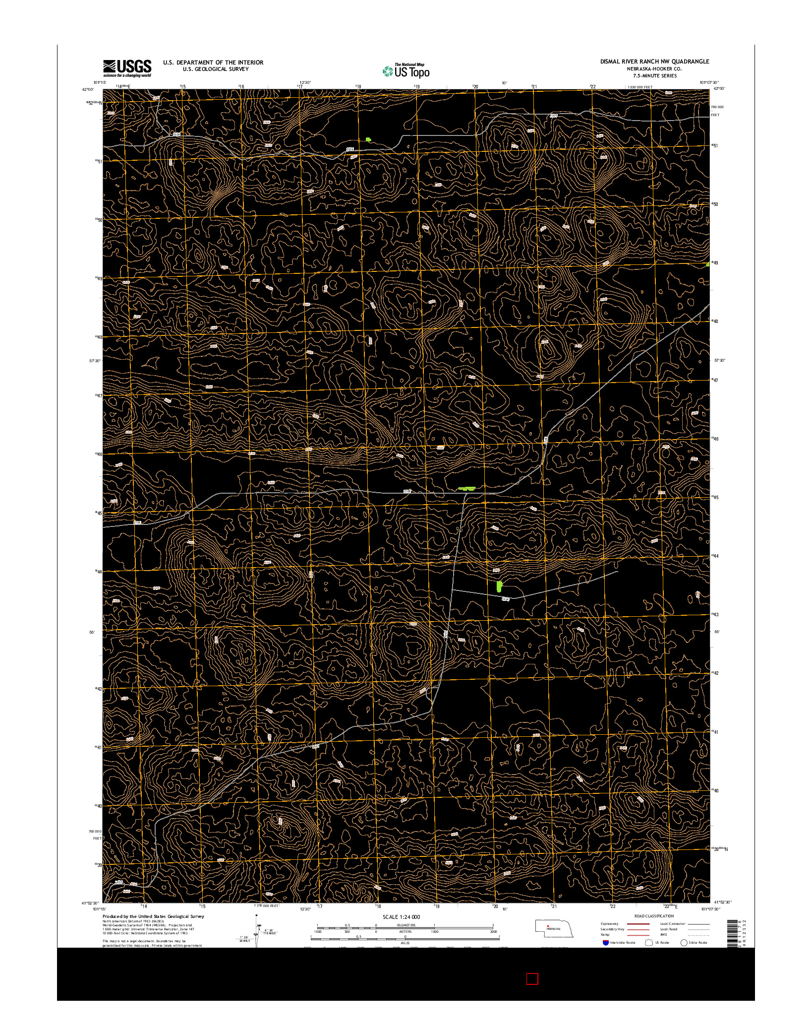 USGS US TOPO 7.5-MINUTE MAP FOR DISMAL RIVER RANCH NW, NE 2014