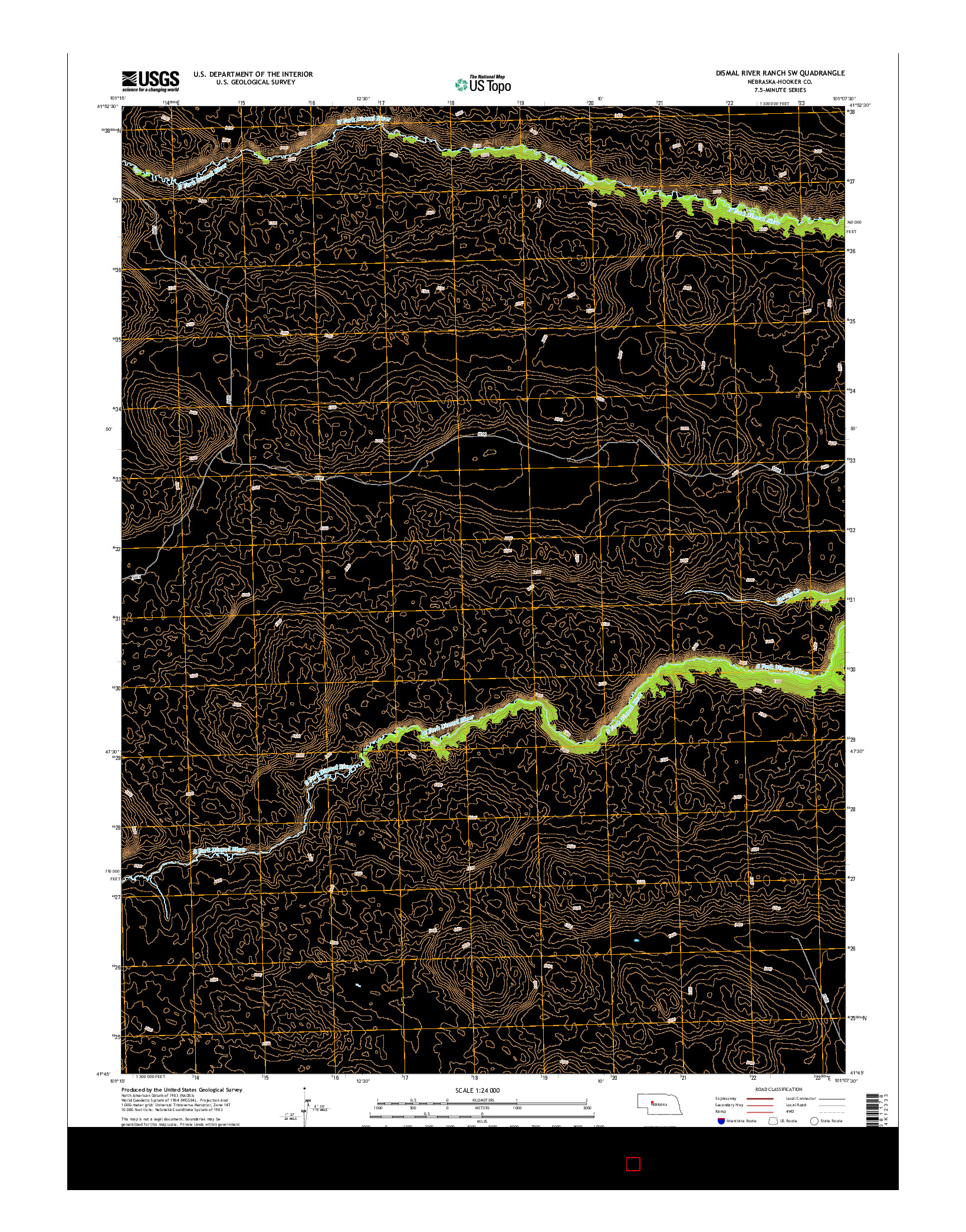 USGS US TOPO 7.5-MINUTE MAP FOR DISMAL RIVER RANCH SW, NE 2014