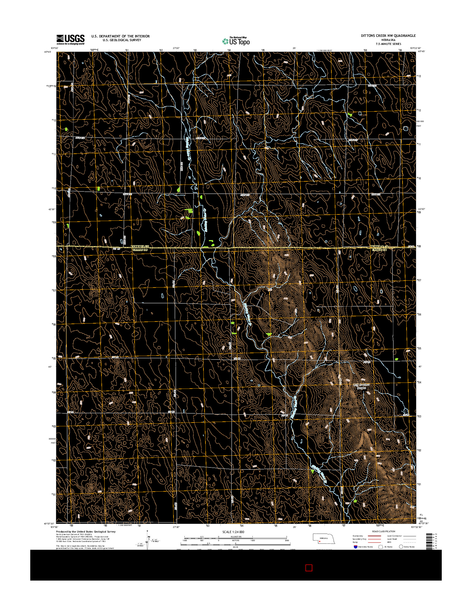 USGS US TOPO 7.5-MINUTE MAP FOR DITTONS CREEK NW, NE 2014