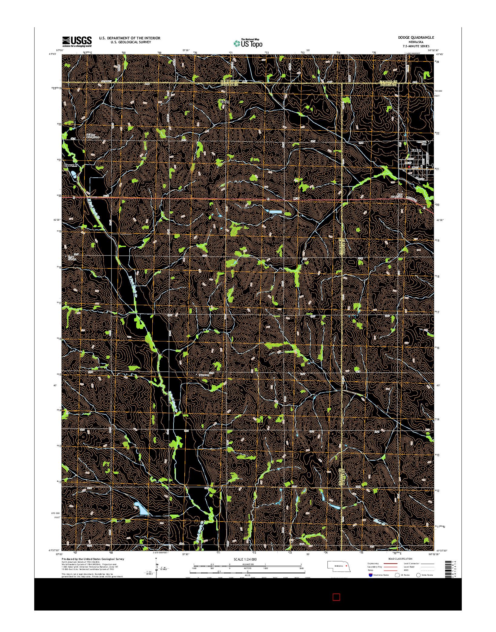 USGS US TOPO 7.5-MINUTE MAP FOR DODGE, NE 2014