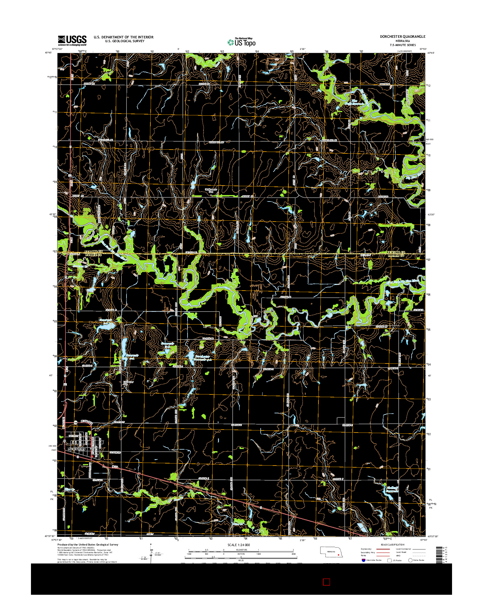 USGS US TOPO 7.5-MINUTE MAP FOR DORCHESTER, NE 2014