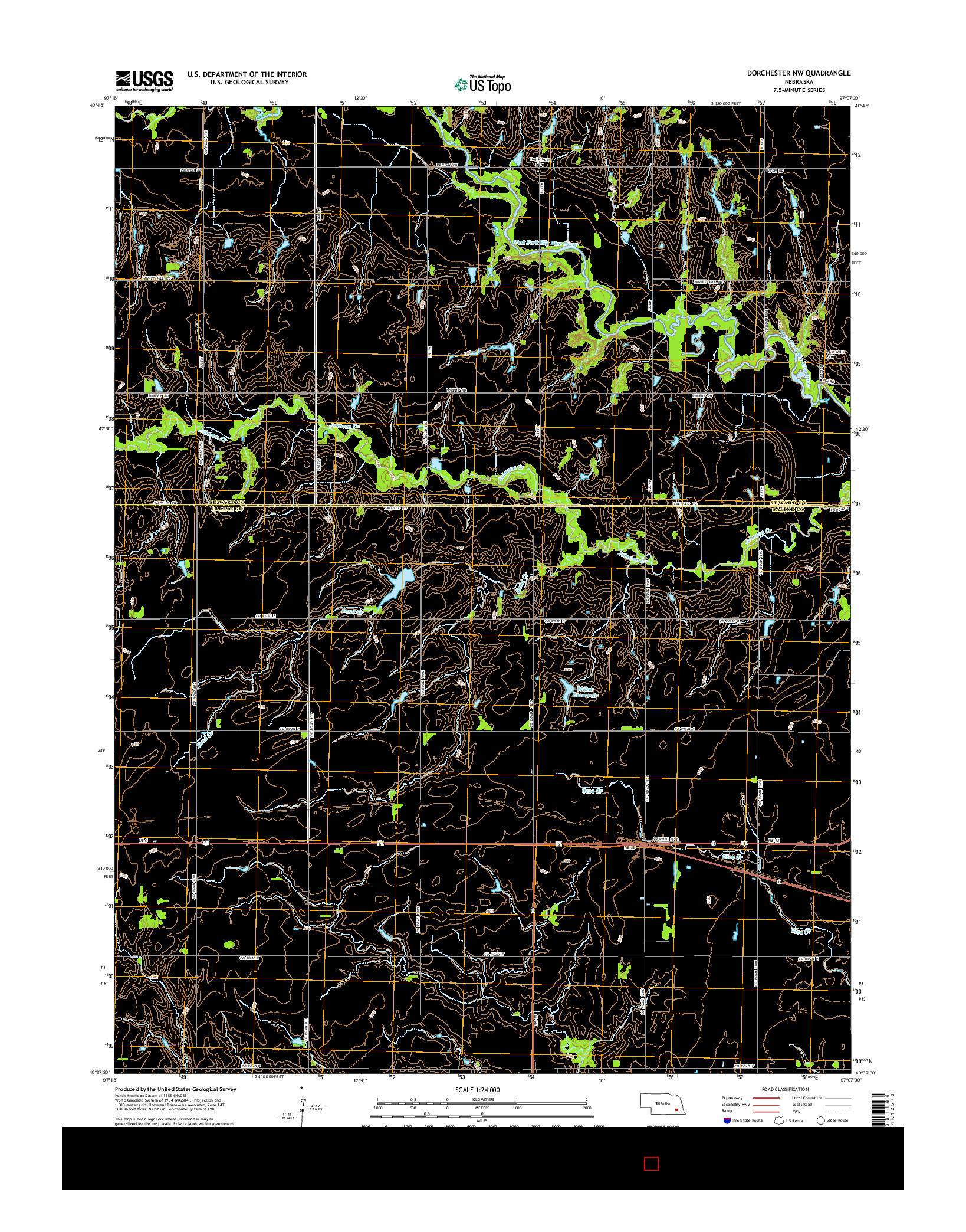 USGS US TOPO 7.5-MINUTE MAP FOR DORCHESTER NW, NE 2014