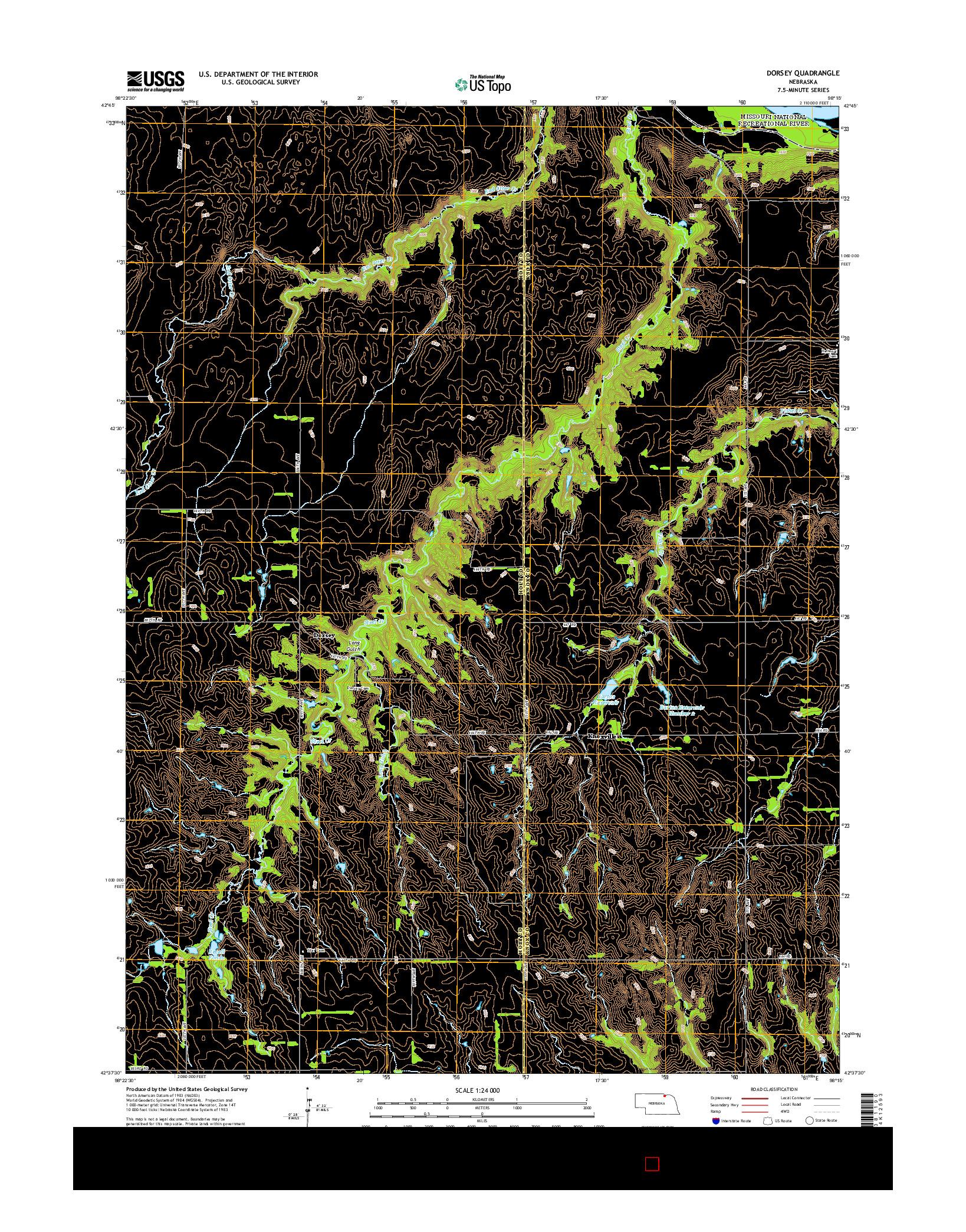 USGS US TOPO 7.5-MINUTE MAP FOR DORSEY, NE 2014