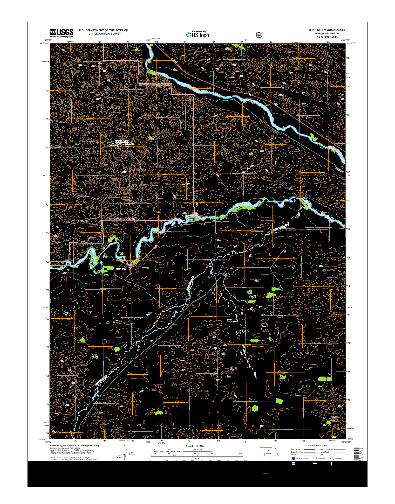 USGS US TOPO 7.5-MINUTE MAP FOR DUNNING SW, NE 2014