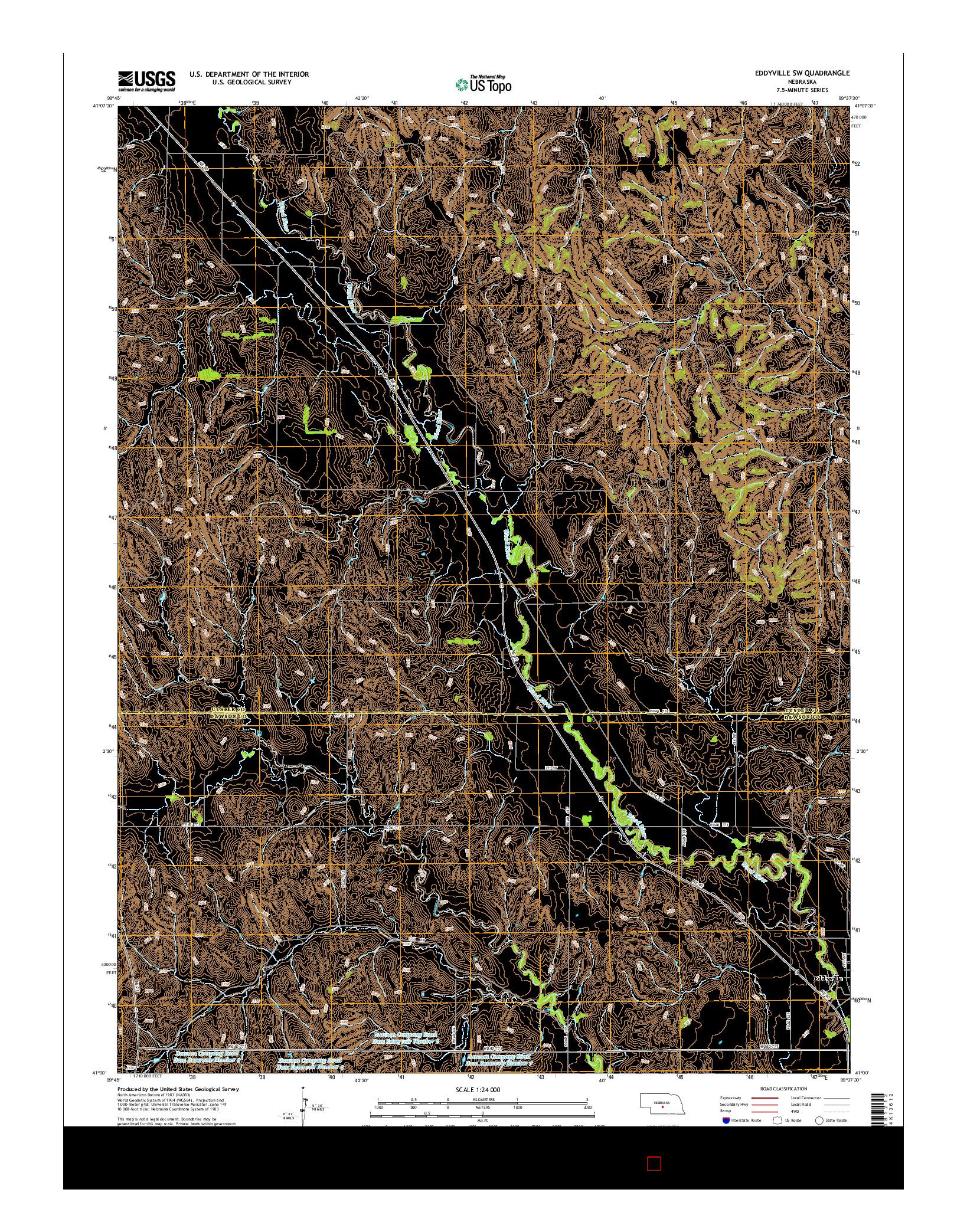 USGS US TOPO 7.5-MINUTE MAP FOR EDDYVILLE SW, NE 2014
