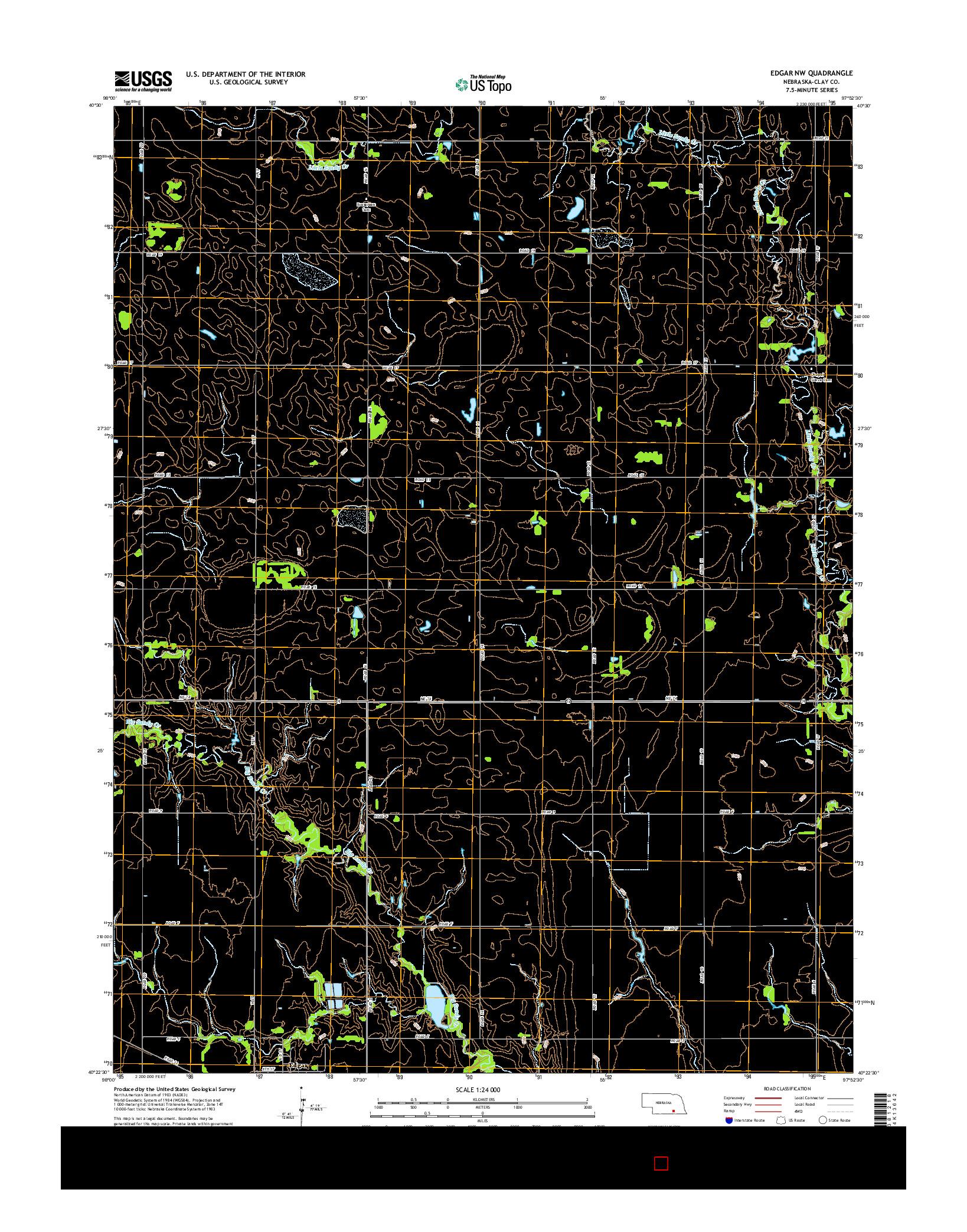 USGS US TOPO 7.5-MINUTE MAP FOR EDGAR NW, NE 2014