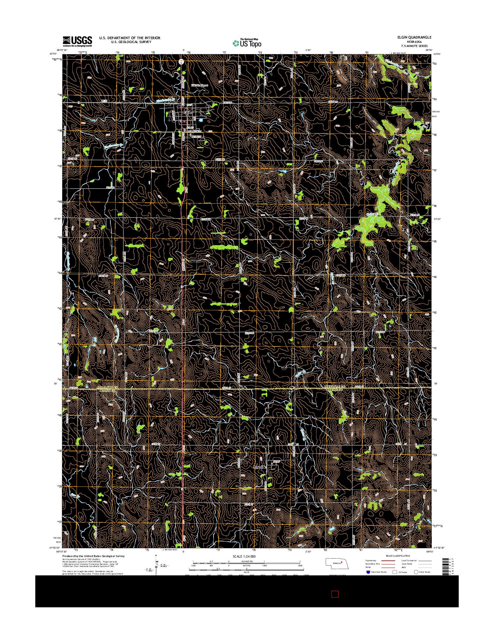 USGS US TOPO 7.5-MINUTE MAP FOR ELGIN, NE 2014