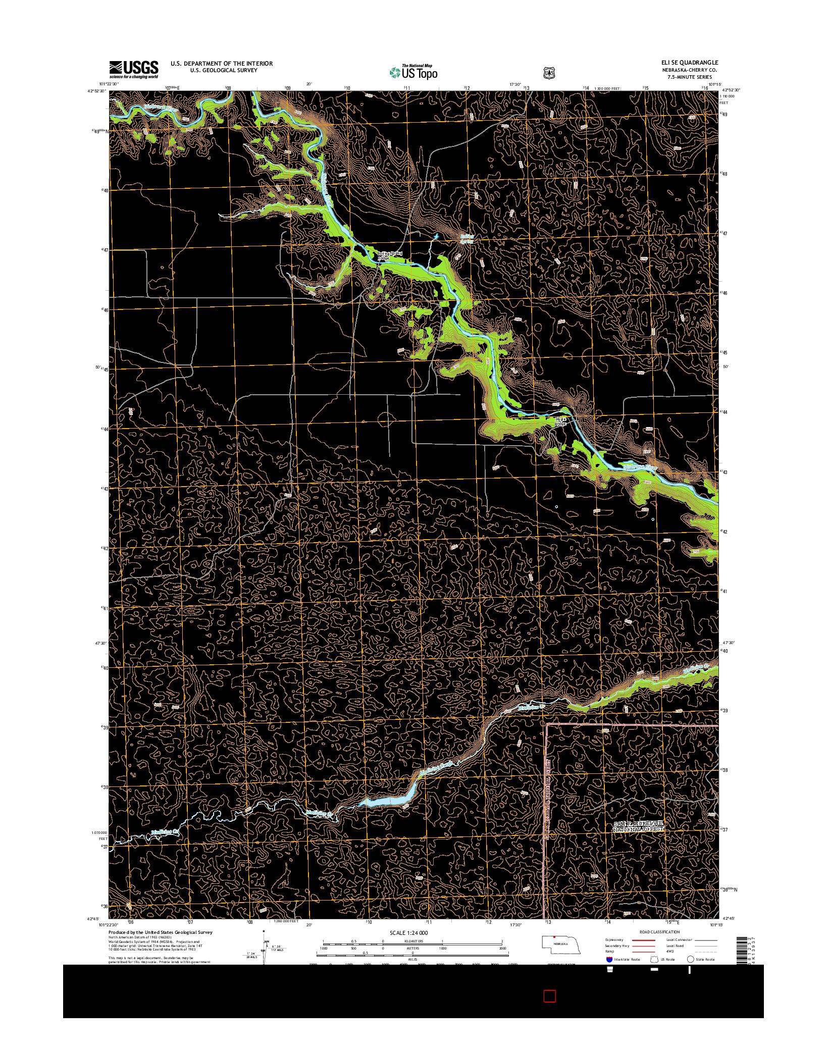 USGS US TOPO 7.5-MINUTE MAP FOR ELI SE, NE 2014