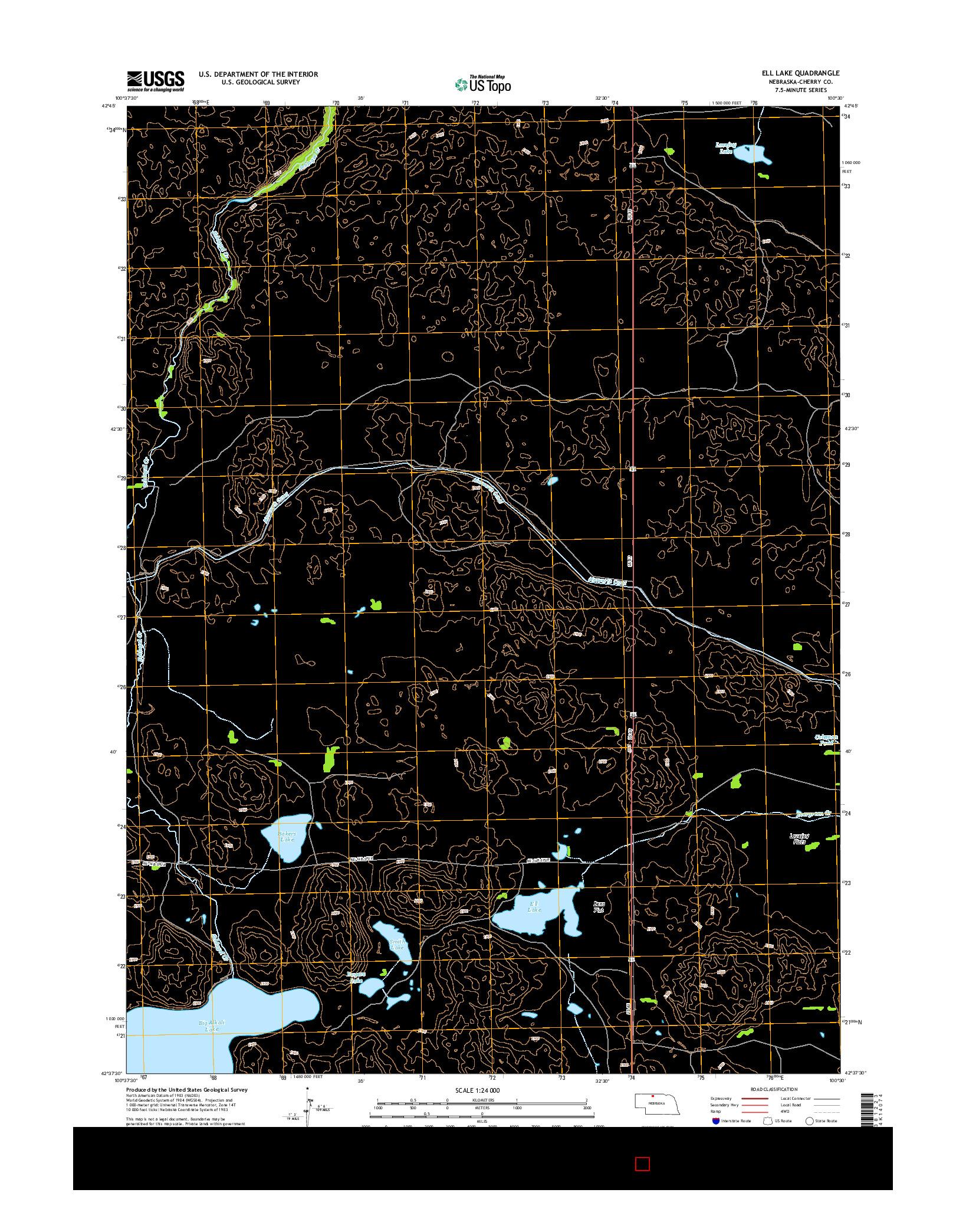 USGS US TOPO 7.5-MINUTE MAP FOR ELL LAKE, NE 2014