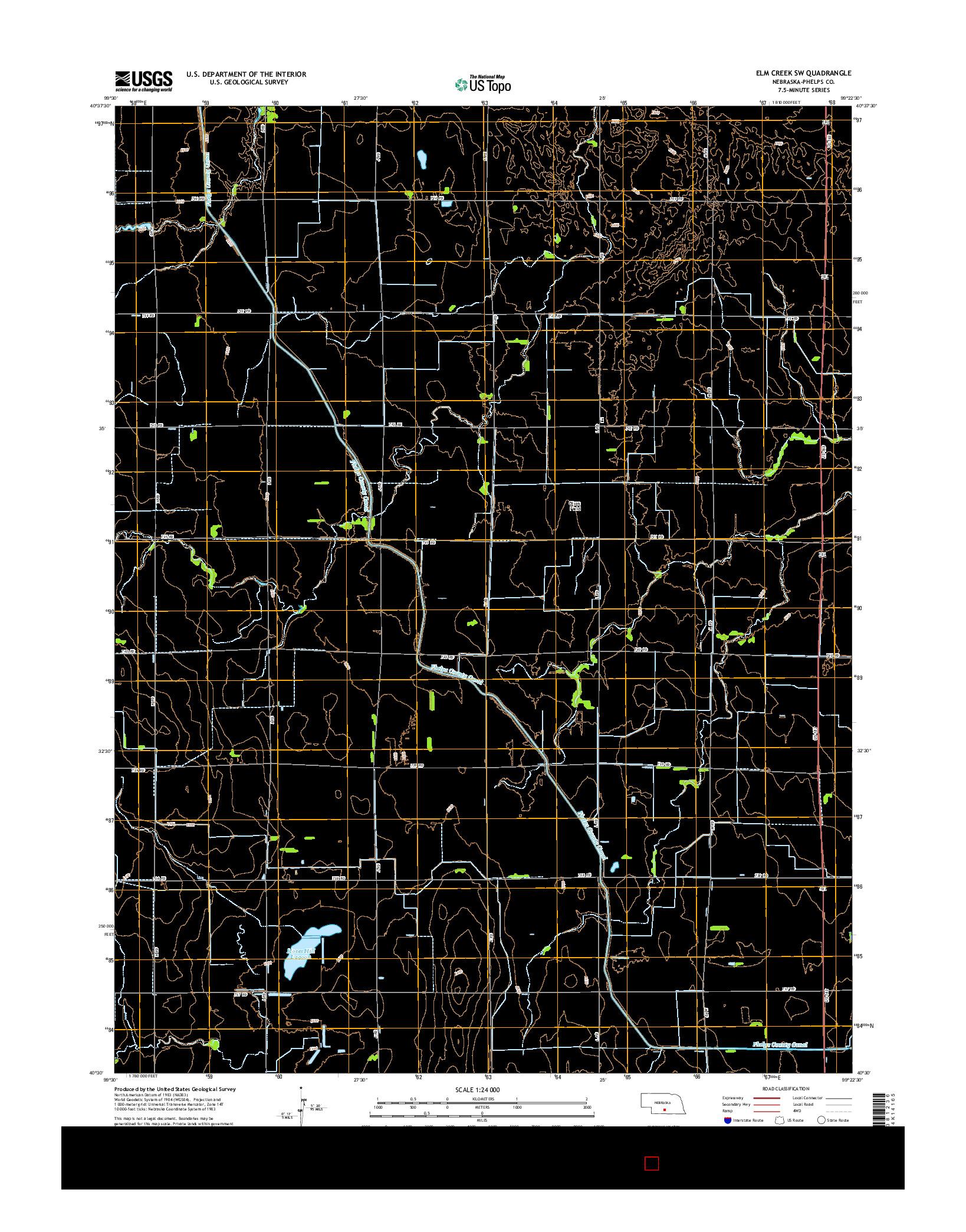 USGS US TOPO 7.5-MINUTE MAP FOR ELM CREEK SW, NE 2014
