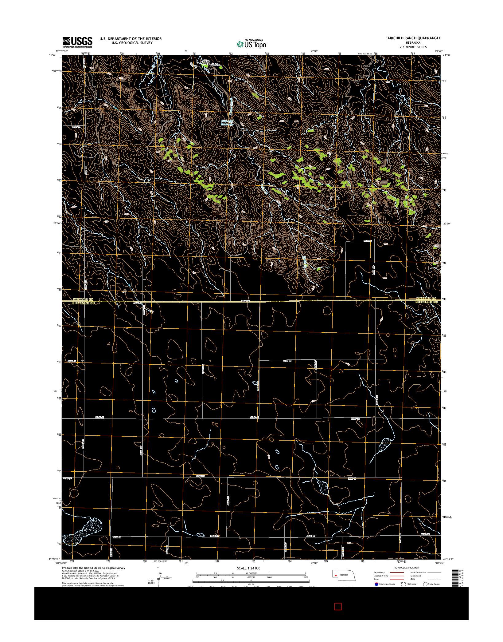 USGS US TOPO 7.5-MINUTE MAP FOR FAIRCHILD RANCH, NE 2014