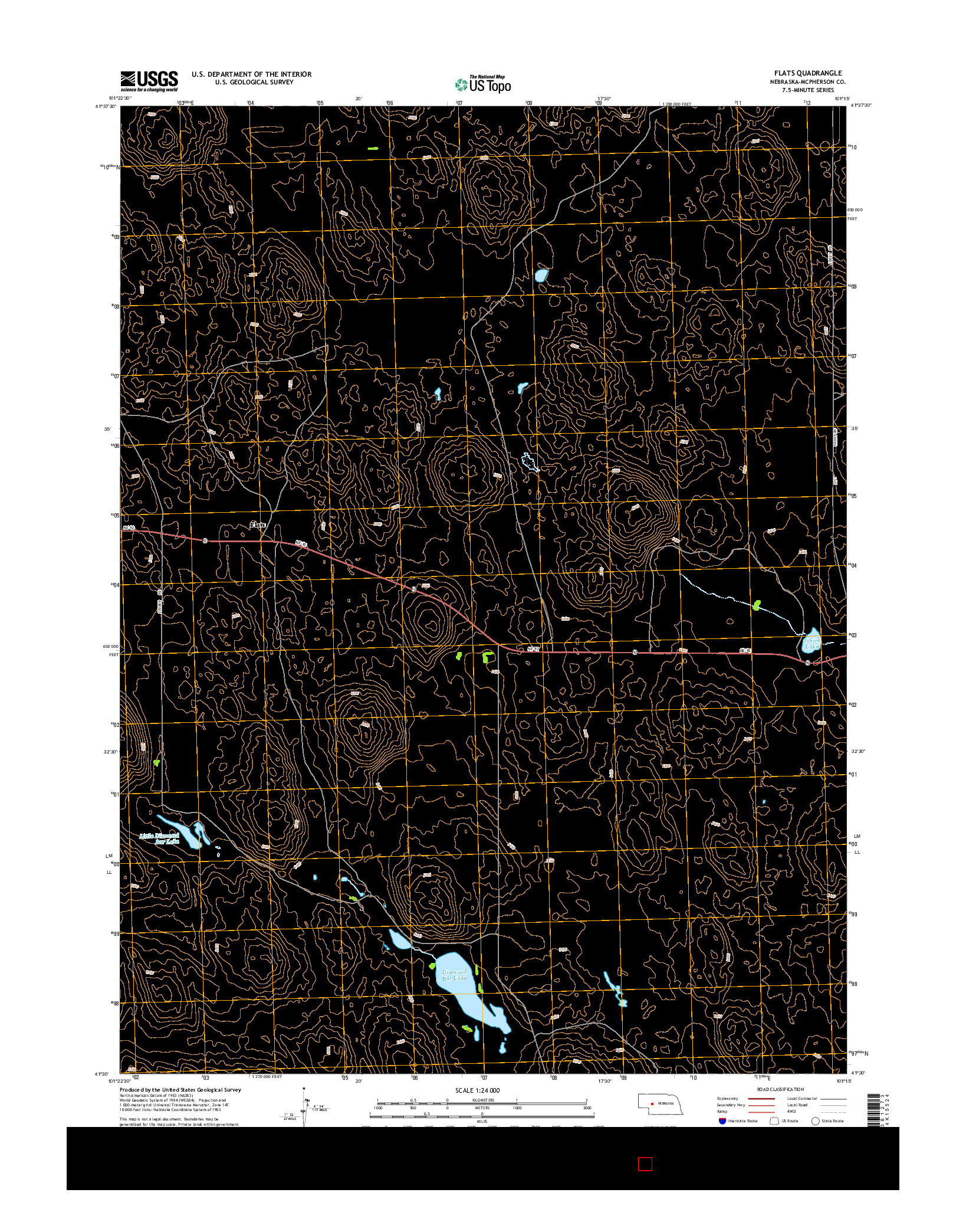 USGS US TOPO 7.5-MINUTE MAP FOR FLATS, NE 2014