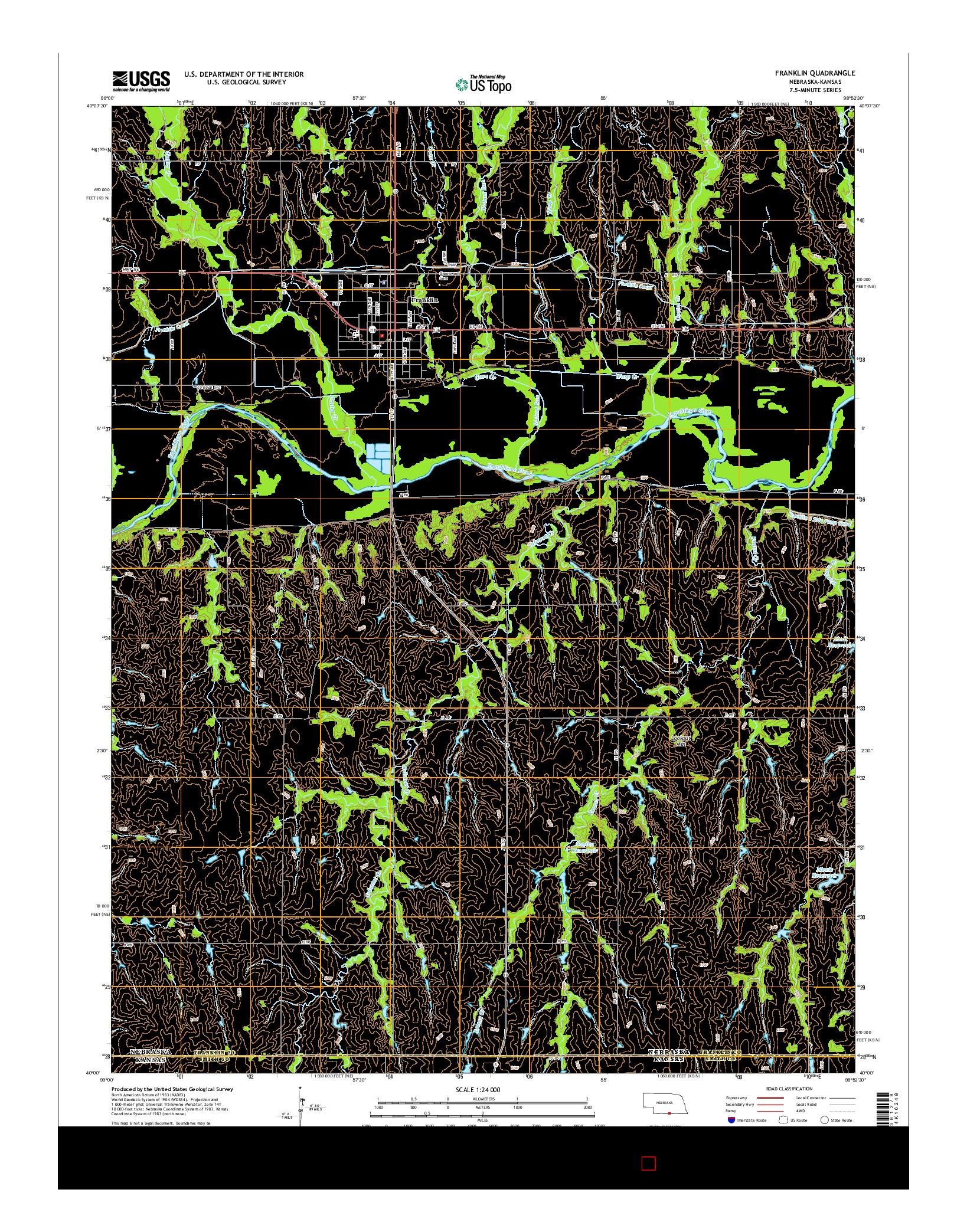 USGS US TOPO 7.5-MINUTE MAP FOR FRANKLIN, NE-KS 2014