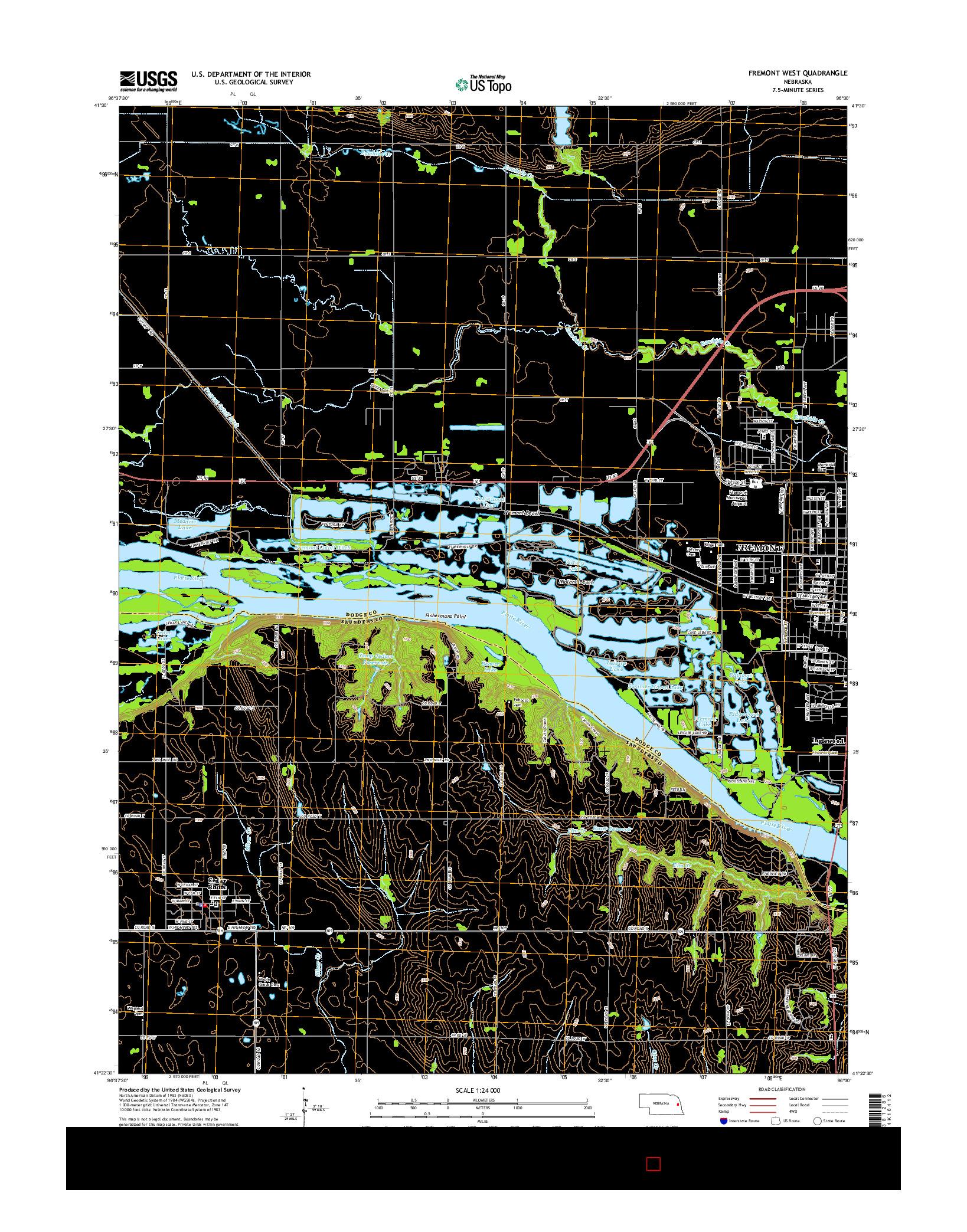 USGS US TOPO 7.5-MINUTE MAP FOR FREMONT WEST, NE 2014