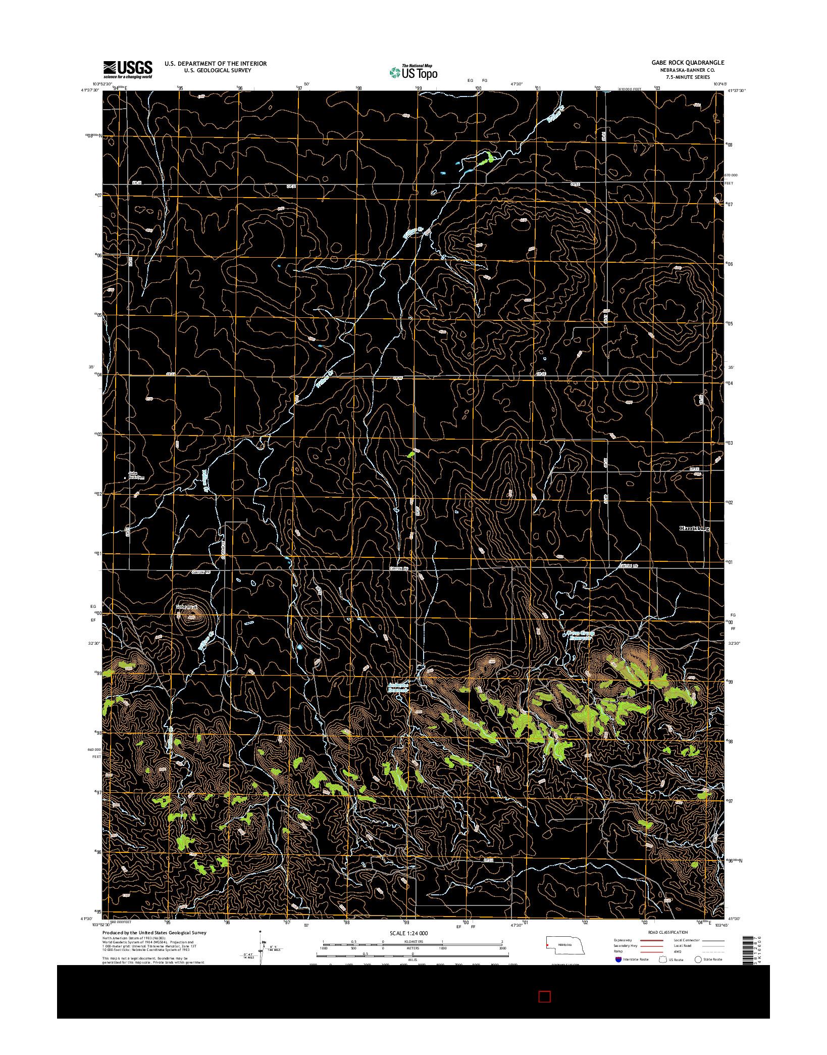 USGS US TOPO 7.5-MINUTE MAP FOR GABE ROCK, NE 2014