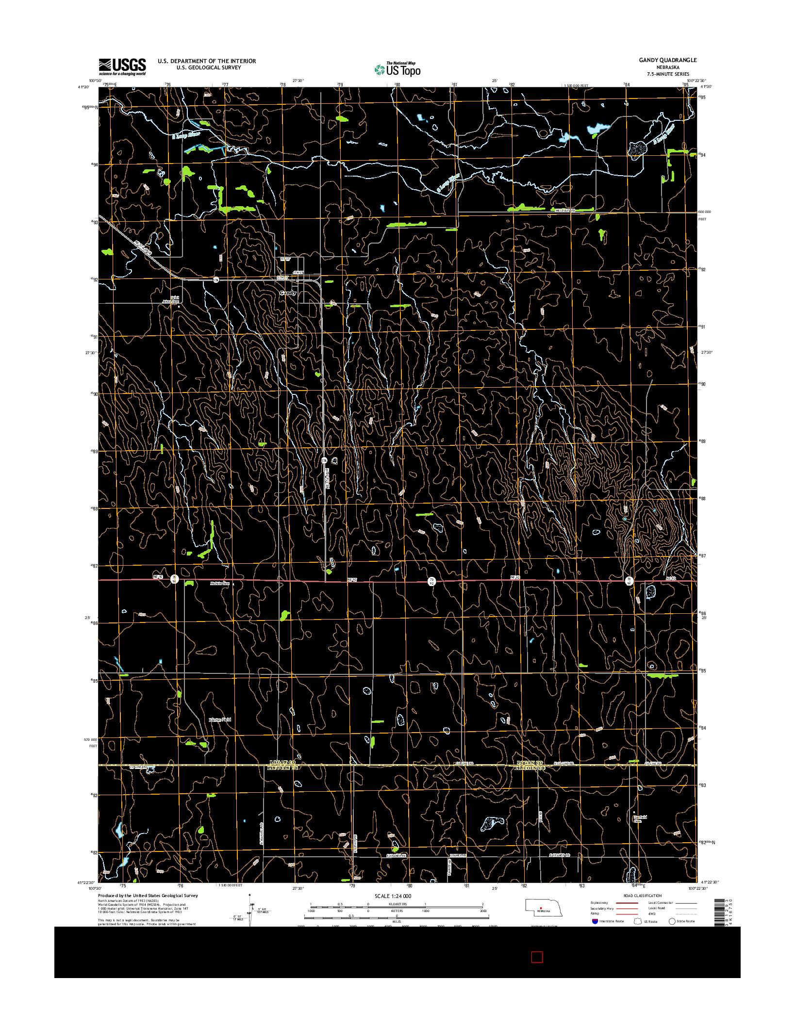 USGS US TOPO 7.5-MINUTE MAP FOR GANDY, NE 2014