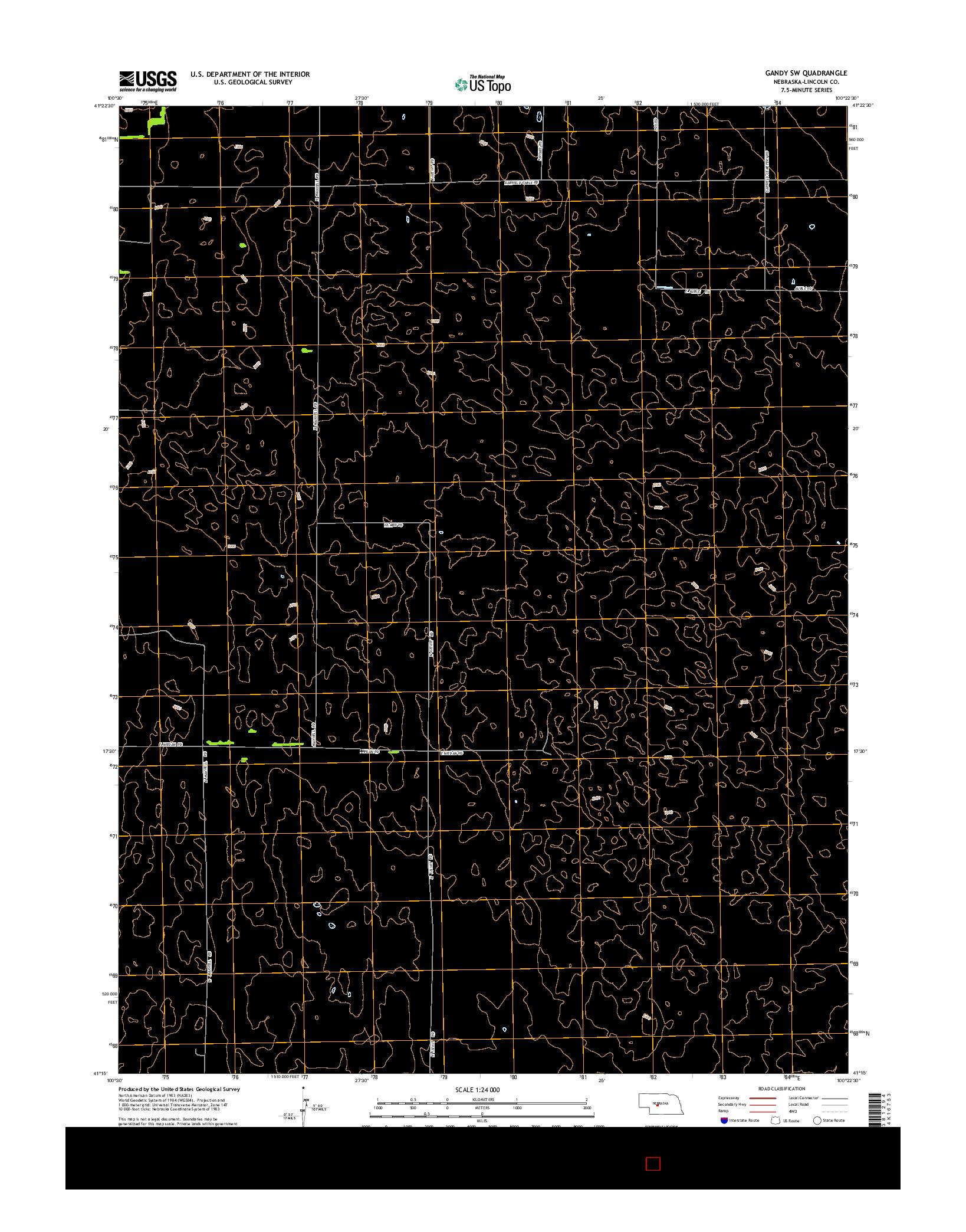 USGS US TOPO 7.5-MINUTE MAP FOR GANDY SW, NE 2014