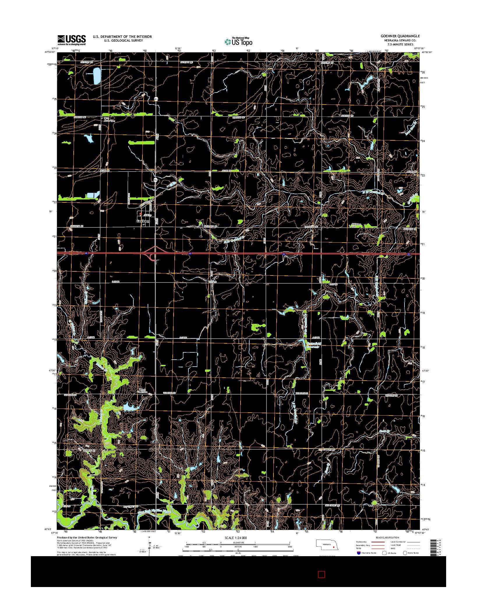 USGS US TOPO 7.5-MINUTE MAP FOR GOEHNER, NE 2014