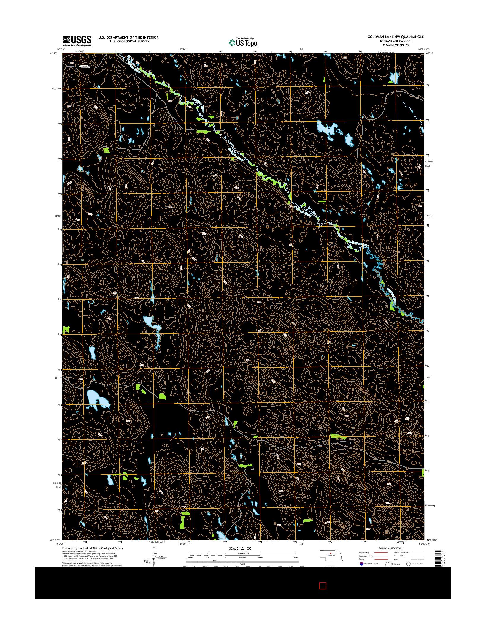 USGS US TOPO 7.5-MINUTE MAP FOR GOLDMAN LAKE NW, NE 2014