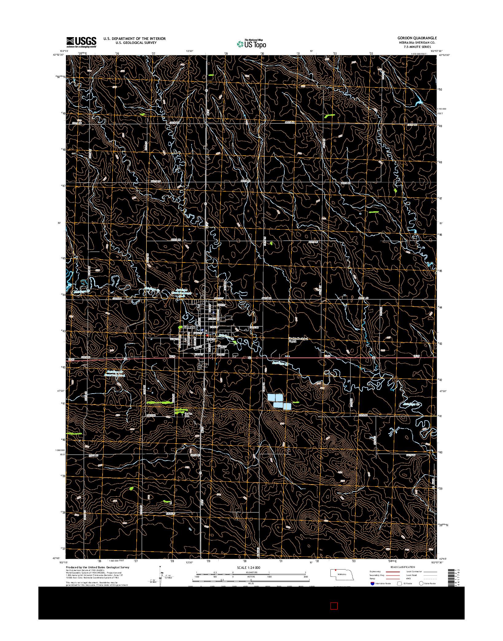 USGS US TOPO 7.5-MINUTE MAP FOR GORDON, NE 2014
