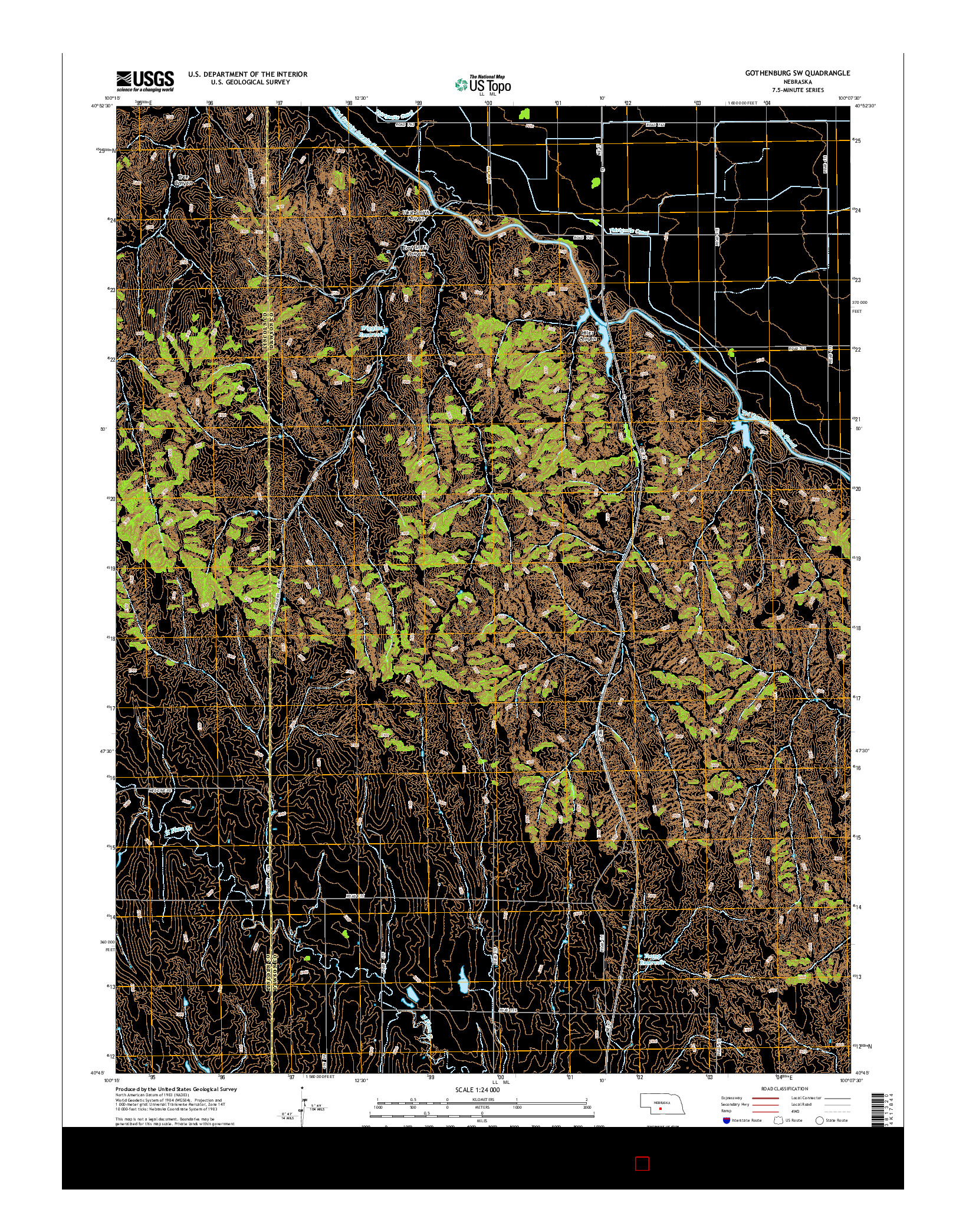 USGS US TOPO 7.5-MINUTE MAP FOR GOTHENBURG SW, NE 2014