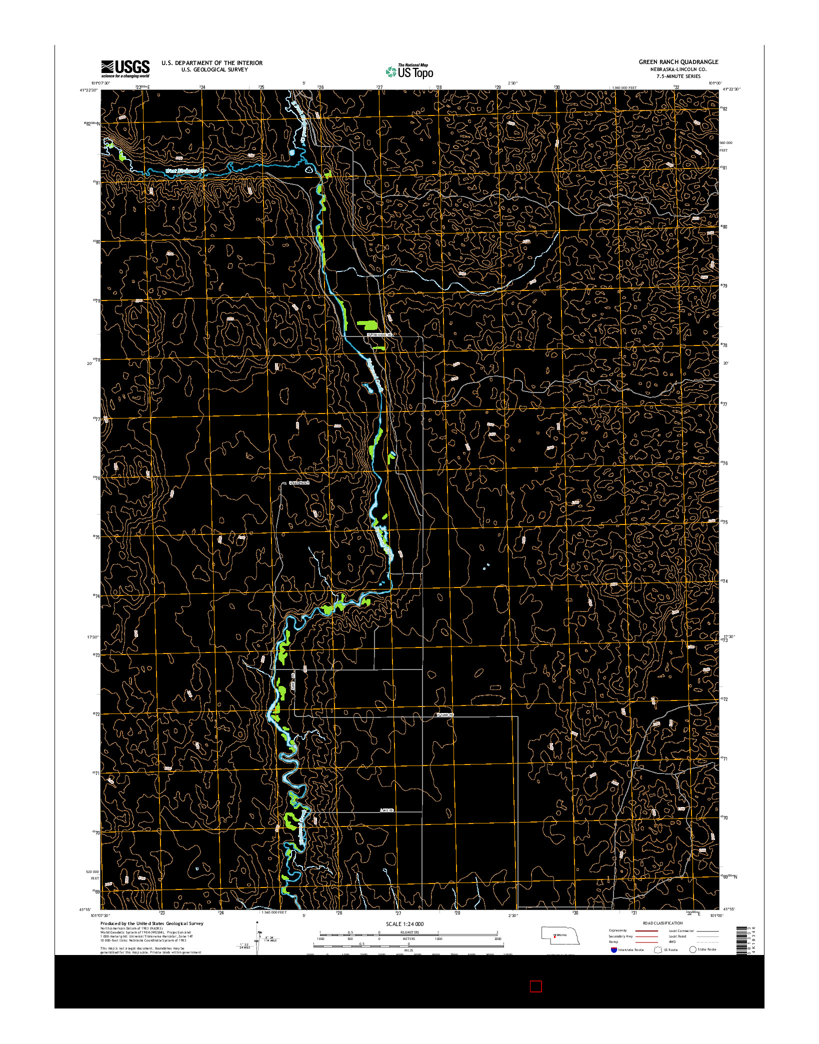 USGS US TOPO 7.5-MINUTE MAP FOR GREEN RANCH, NE 2014