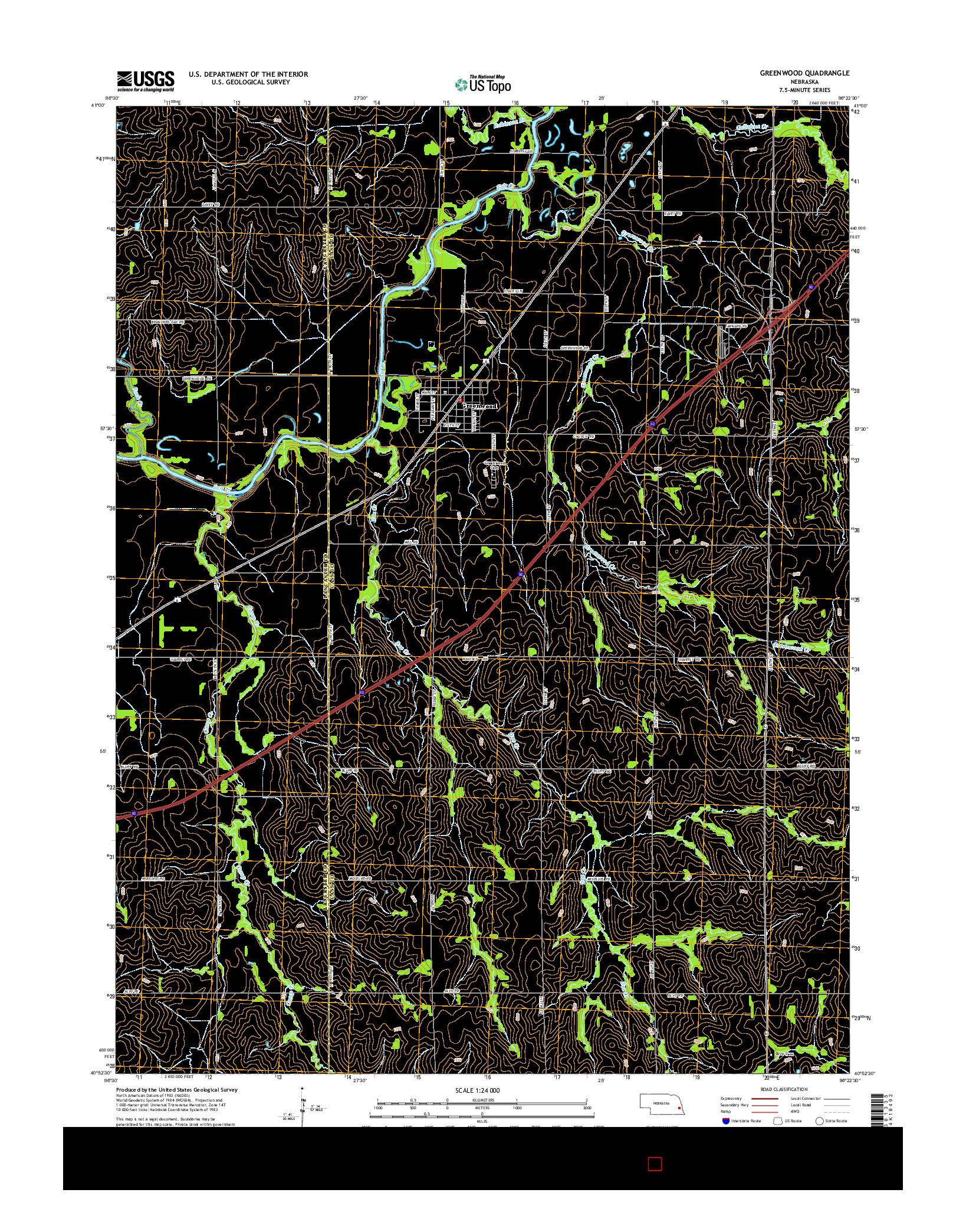 USGS US TOPO 7.5-MINUTE MAP FOR GREENWOOD, NE 2014