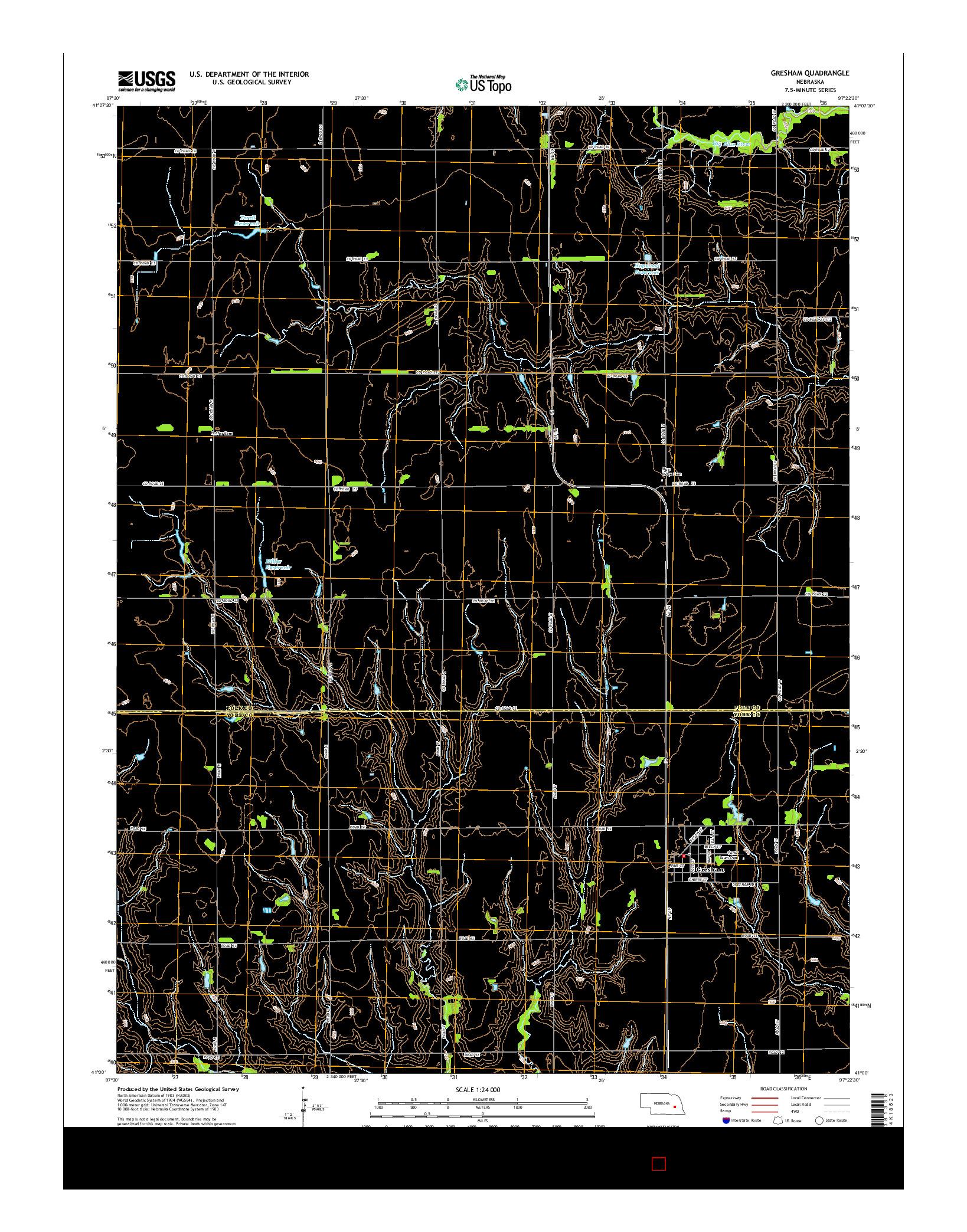 USGS US TOPO 7.5-MINUTE MAP FOR GRESHAM, NE 2014