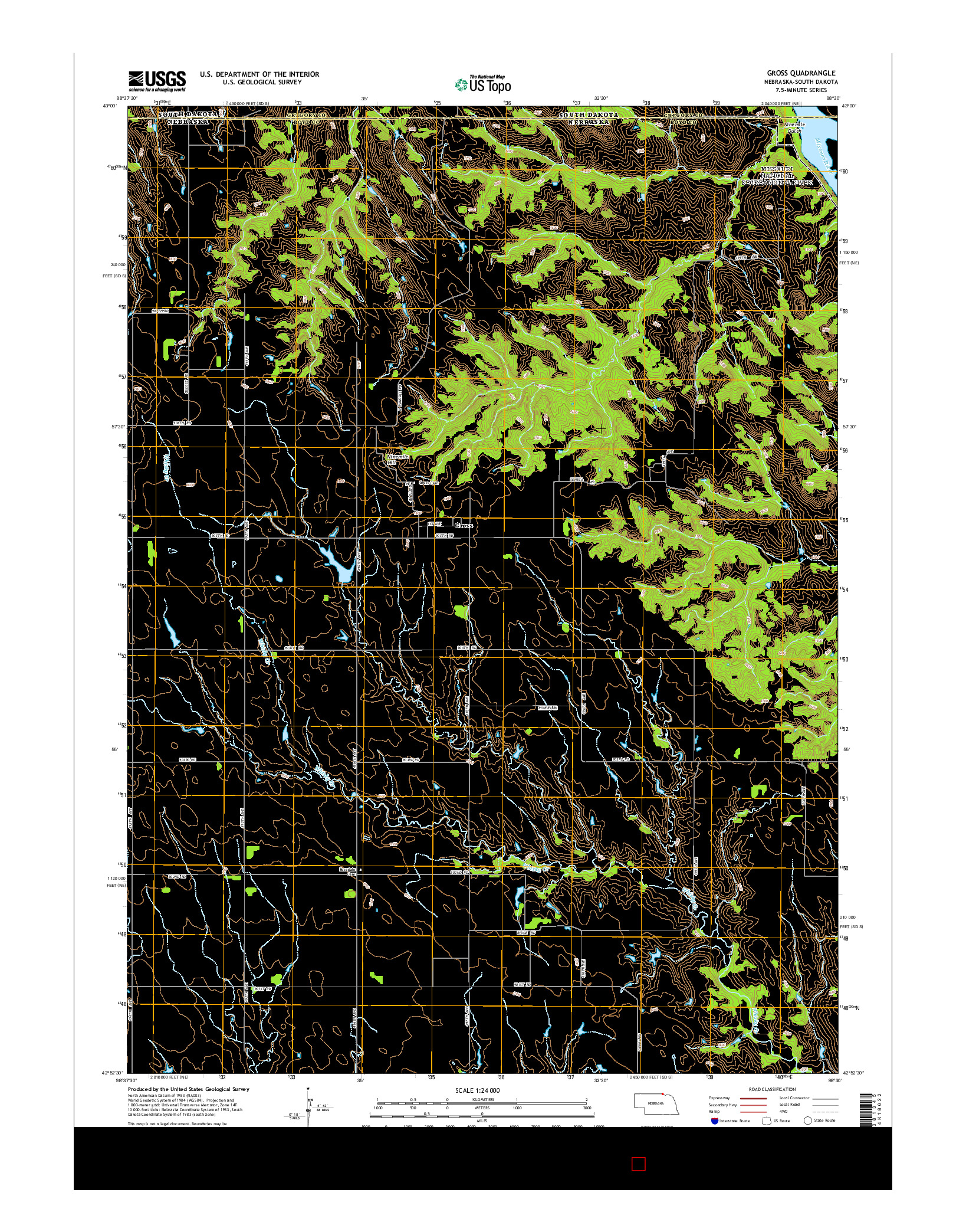 USGS US TOPO 7.5-MINUTE MAP FOR GROSS, NE-SD 2014