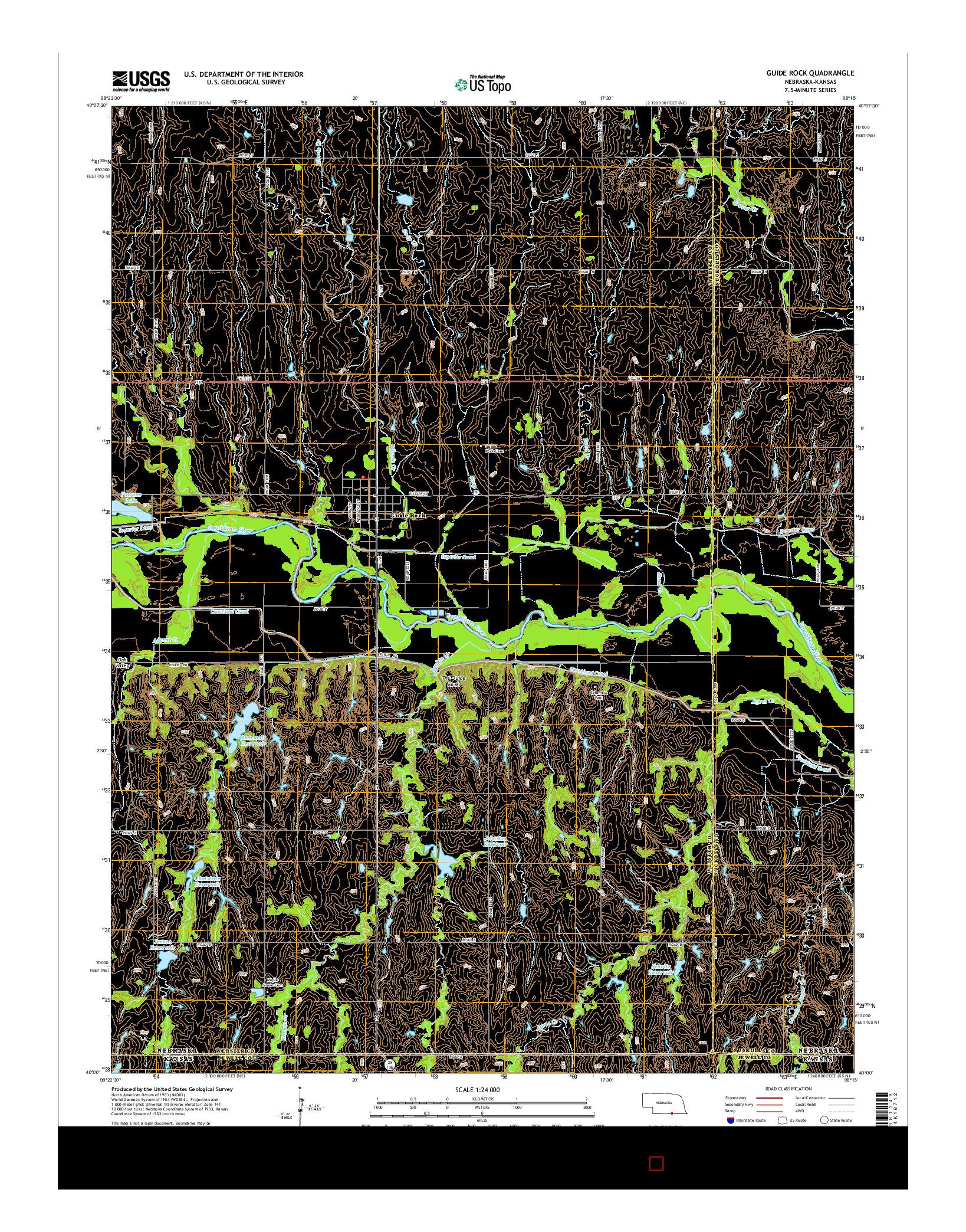 USGS US TOPO 7.5-MINUTE MAP FOR GUIDE ROCK, NE-KS 2014