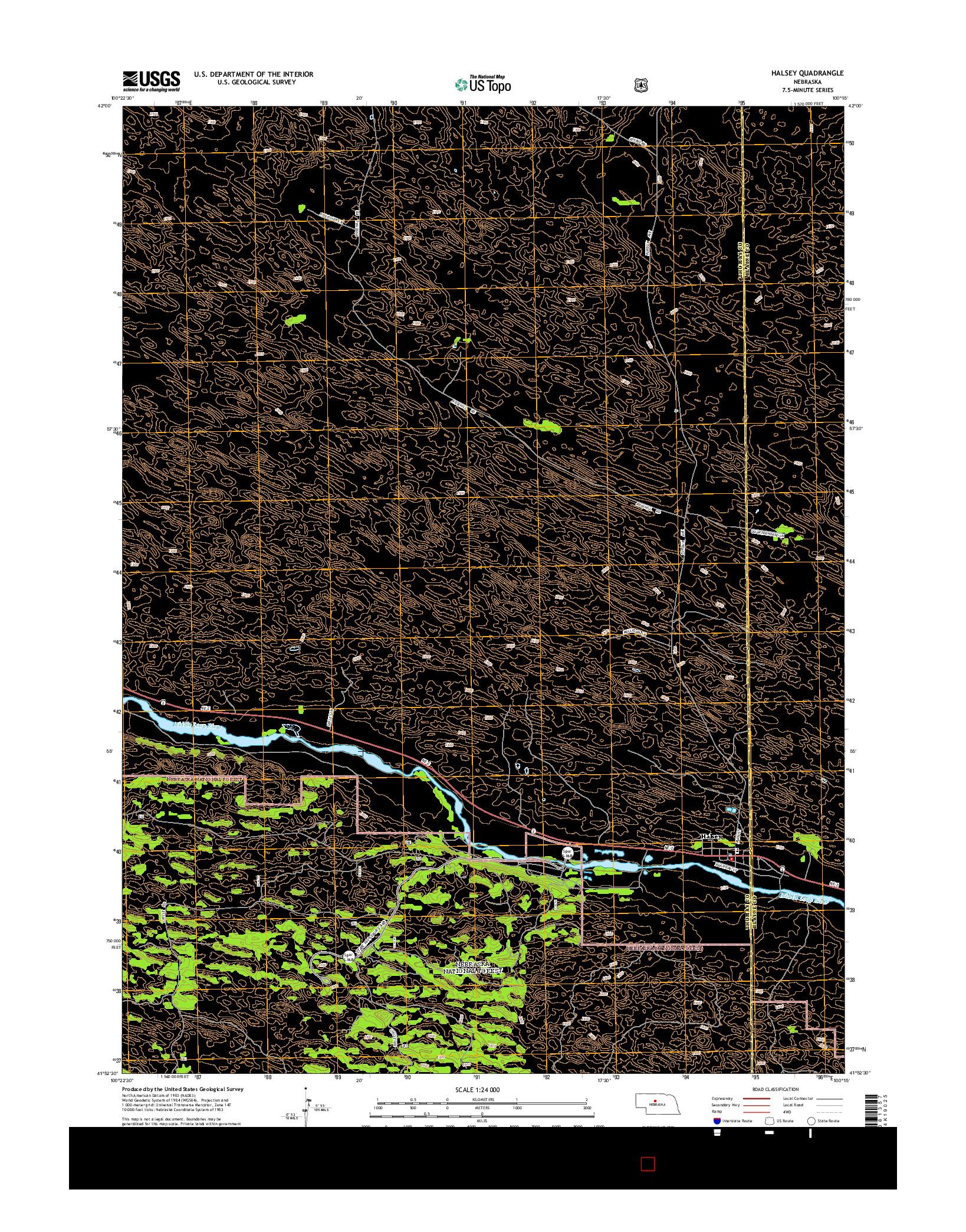USGS US TOPO 7.5-MINUTE MAP FOR HALSEY, NE 2014