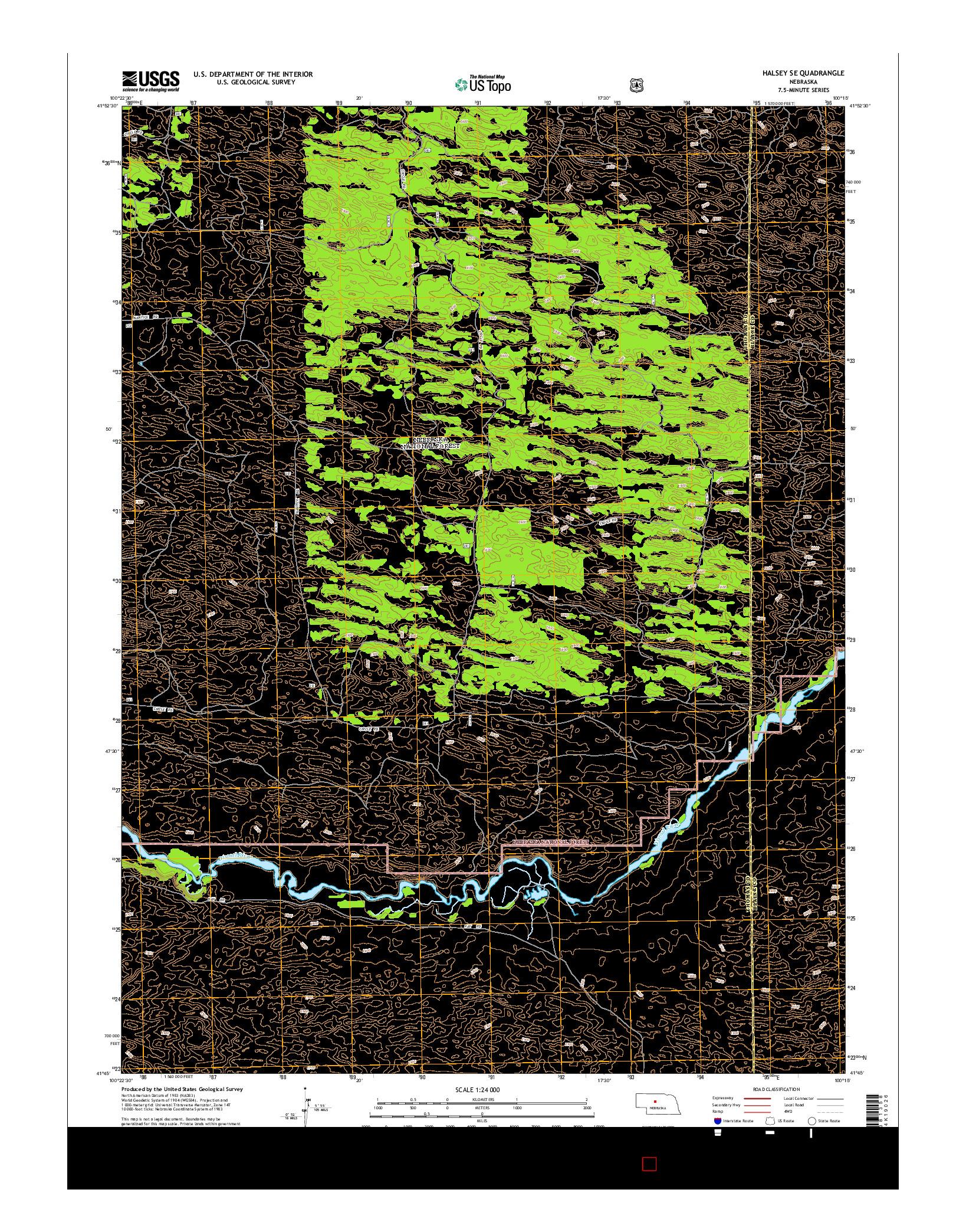 USGS US TOPO 7.5-MINUTE MAP FOR HALSEY SE, NE 2014