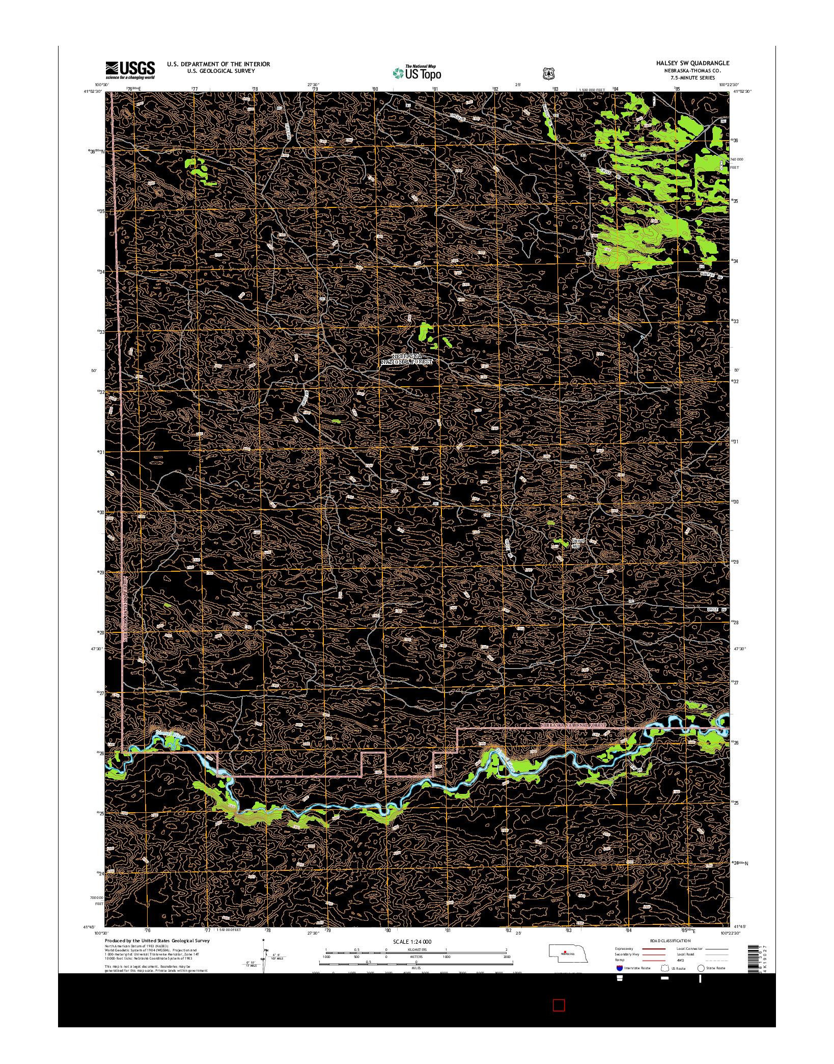 USGS US TOPO 7.5-MINUTE MAP FOR HALSEY SW, NE 2014