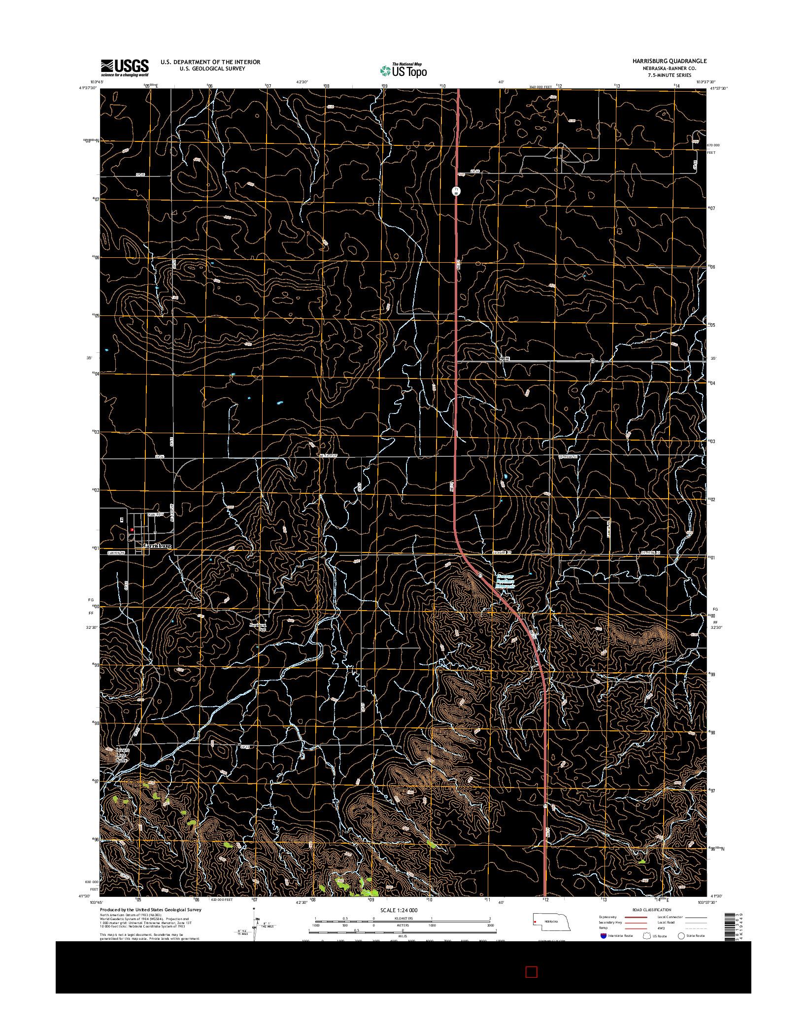 USGS US TOPO 7.5-MINUTE MAP FOR HARRISBURG, NE 2014
