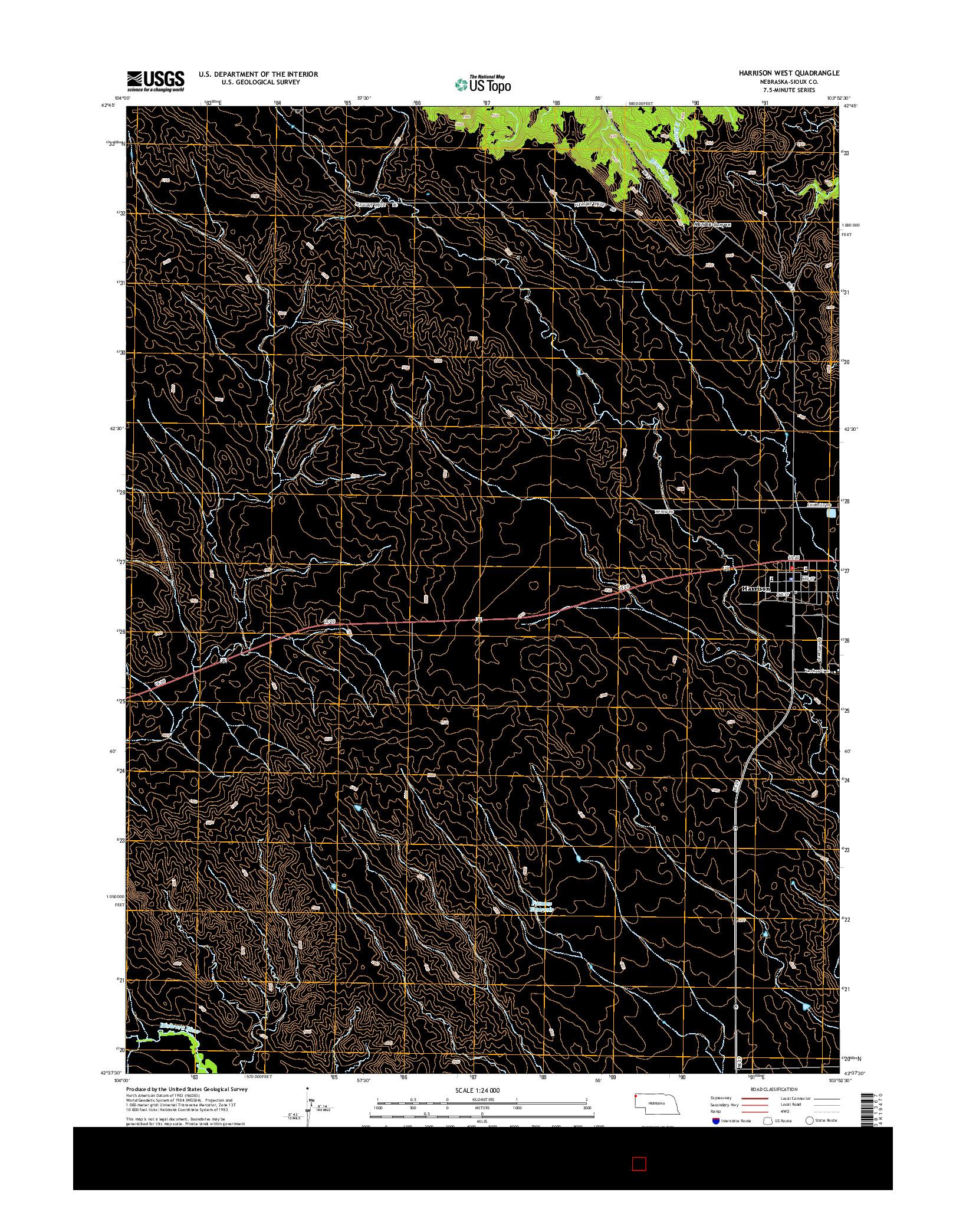USGS US TOPO 7.5-MINUTE MAP FOR HARRISON WEST, NE 2014