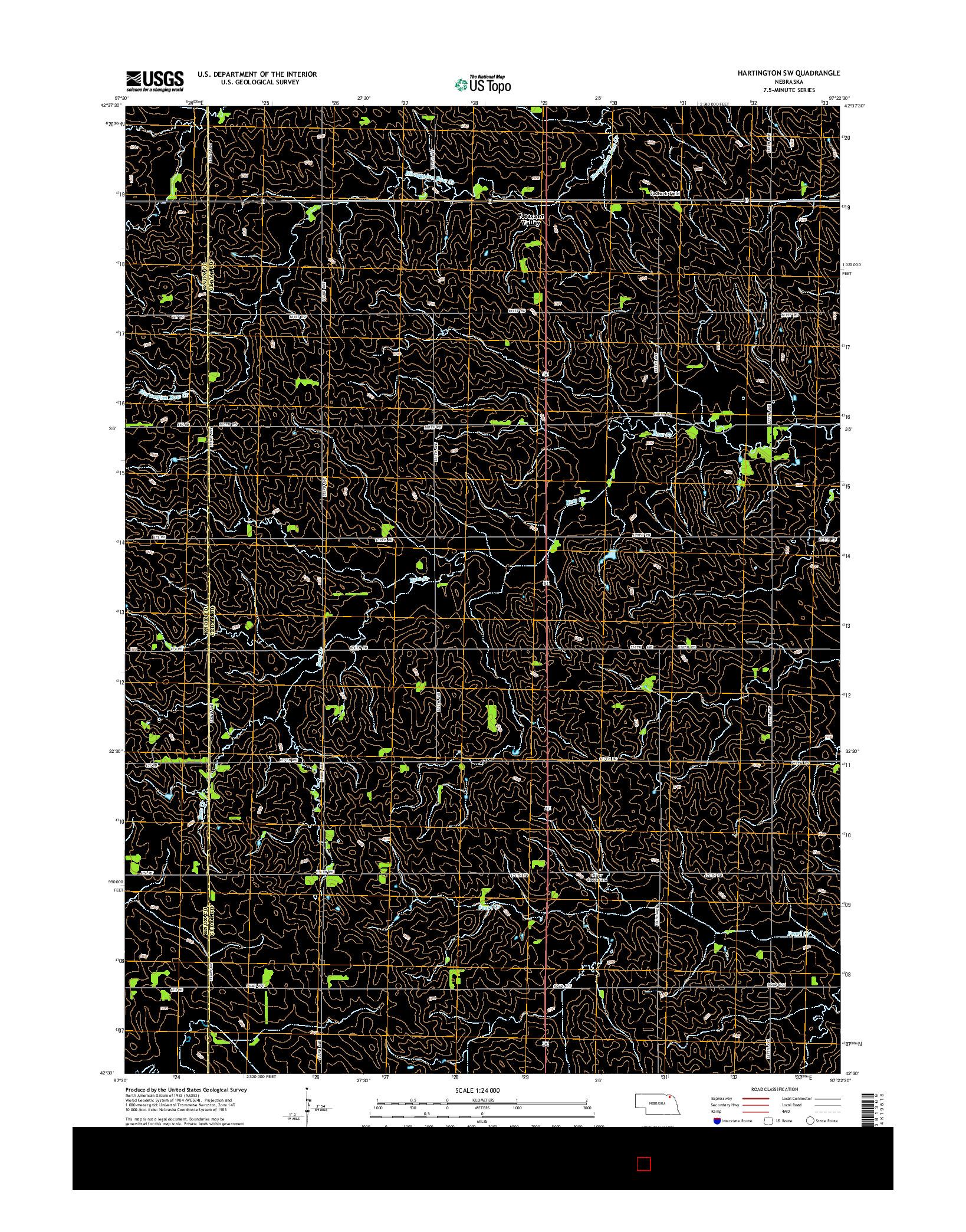 USGS US TOPO 7.5-MINUTE MAP FOR HARTINGTON SW, NE 2014