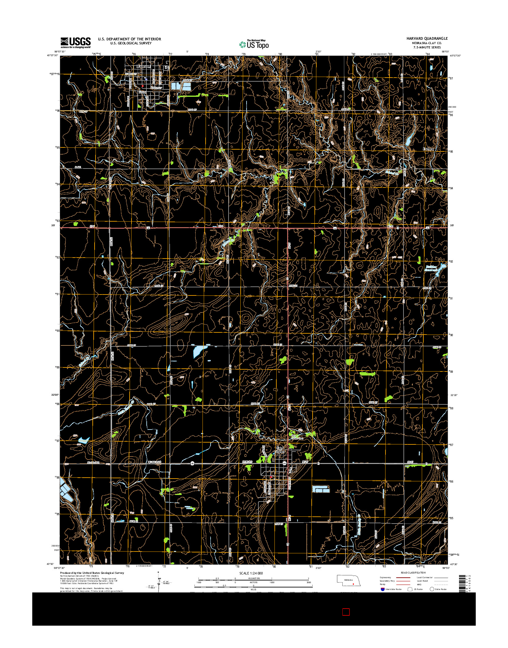 USGS US TOPO 7.5-MINUTE MAP FOR HARVARD, NE 2014