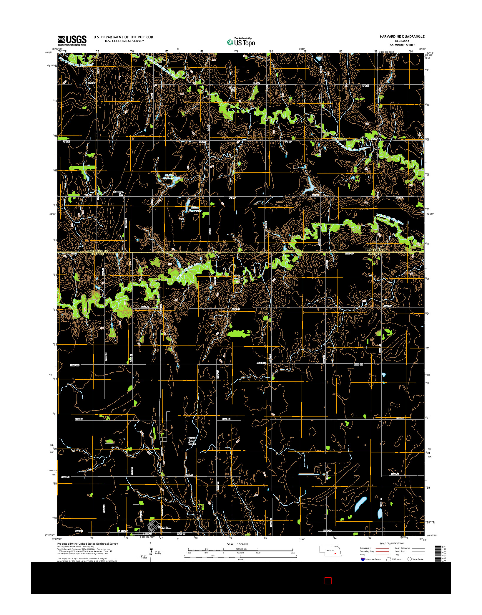 USGS US TOPO 7.5-MINUTE MAP FOR HARVARD NE, NE 2014