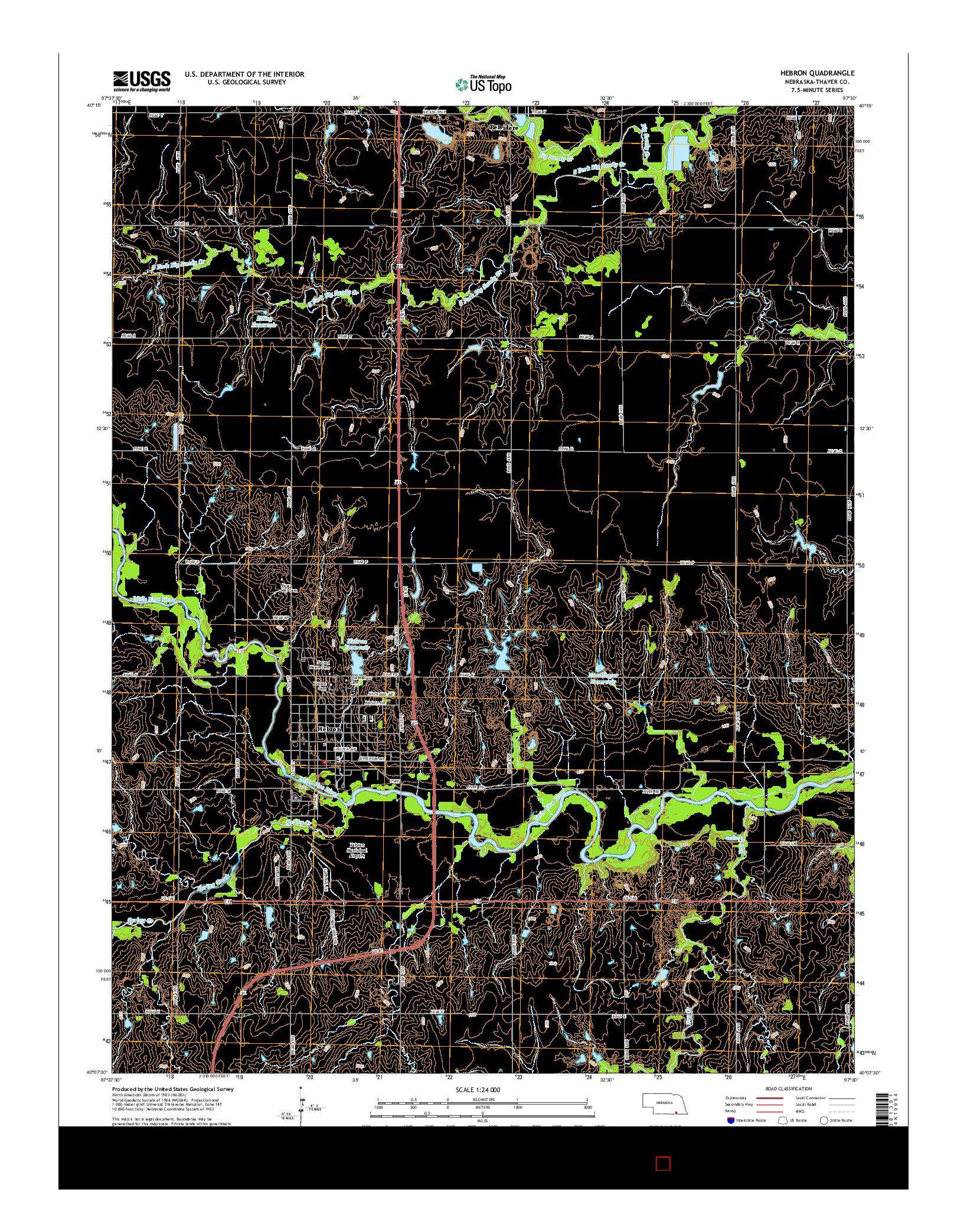 USGS US TOPO 7.5-MINUTE MAP FOR HEBRON, NE 2014