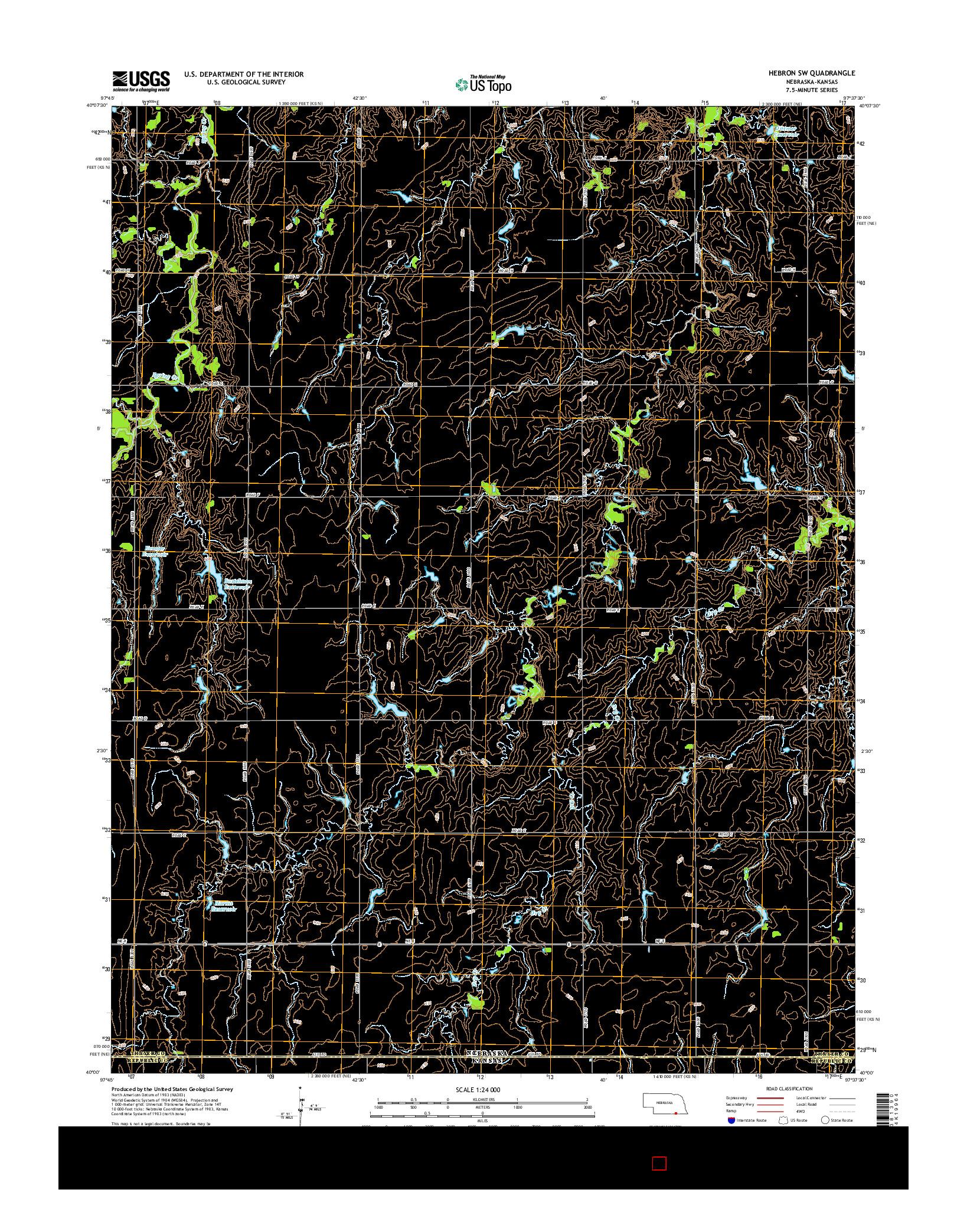 USGS US TOPO 7.5-MINUTE MAP FOR HEBRON SW, NE-KS 2014